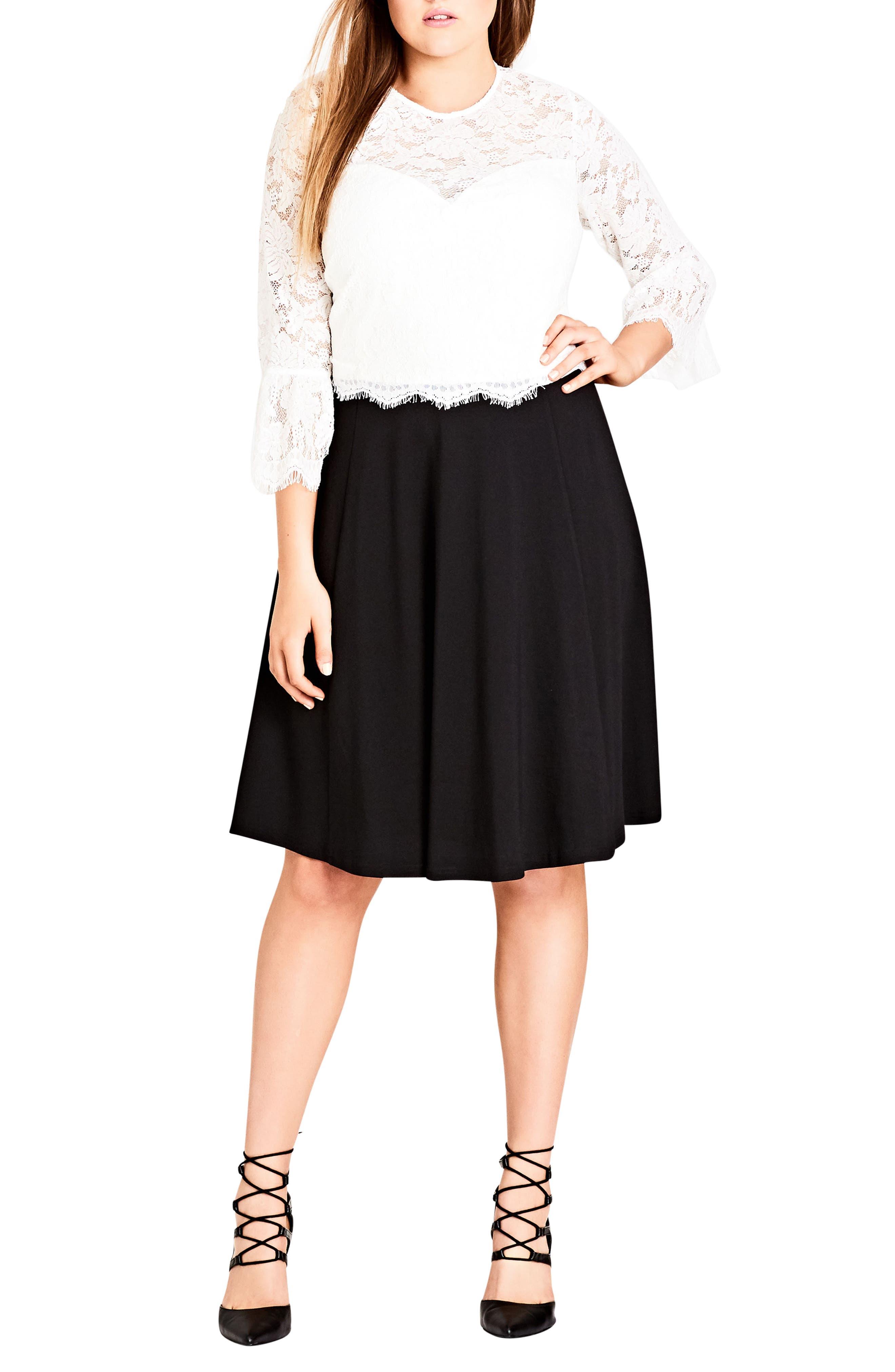 Flirty Mistress Eyelash Lace Dress,                             Main thumbnail 1, color,                             Black