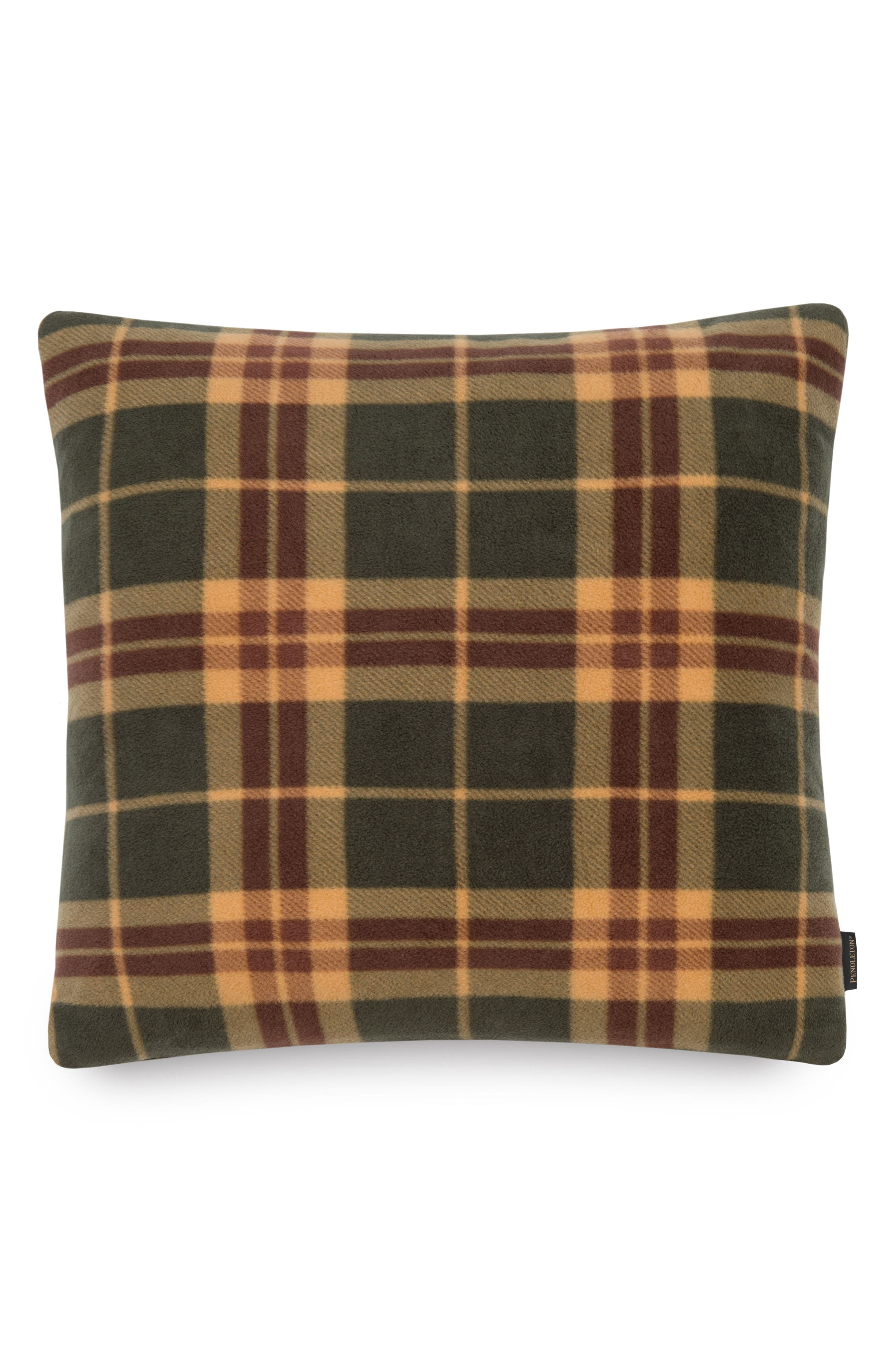 Ambler Plaid Pillow,                             Main thumbnail 1, color,                             Hunter