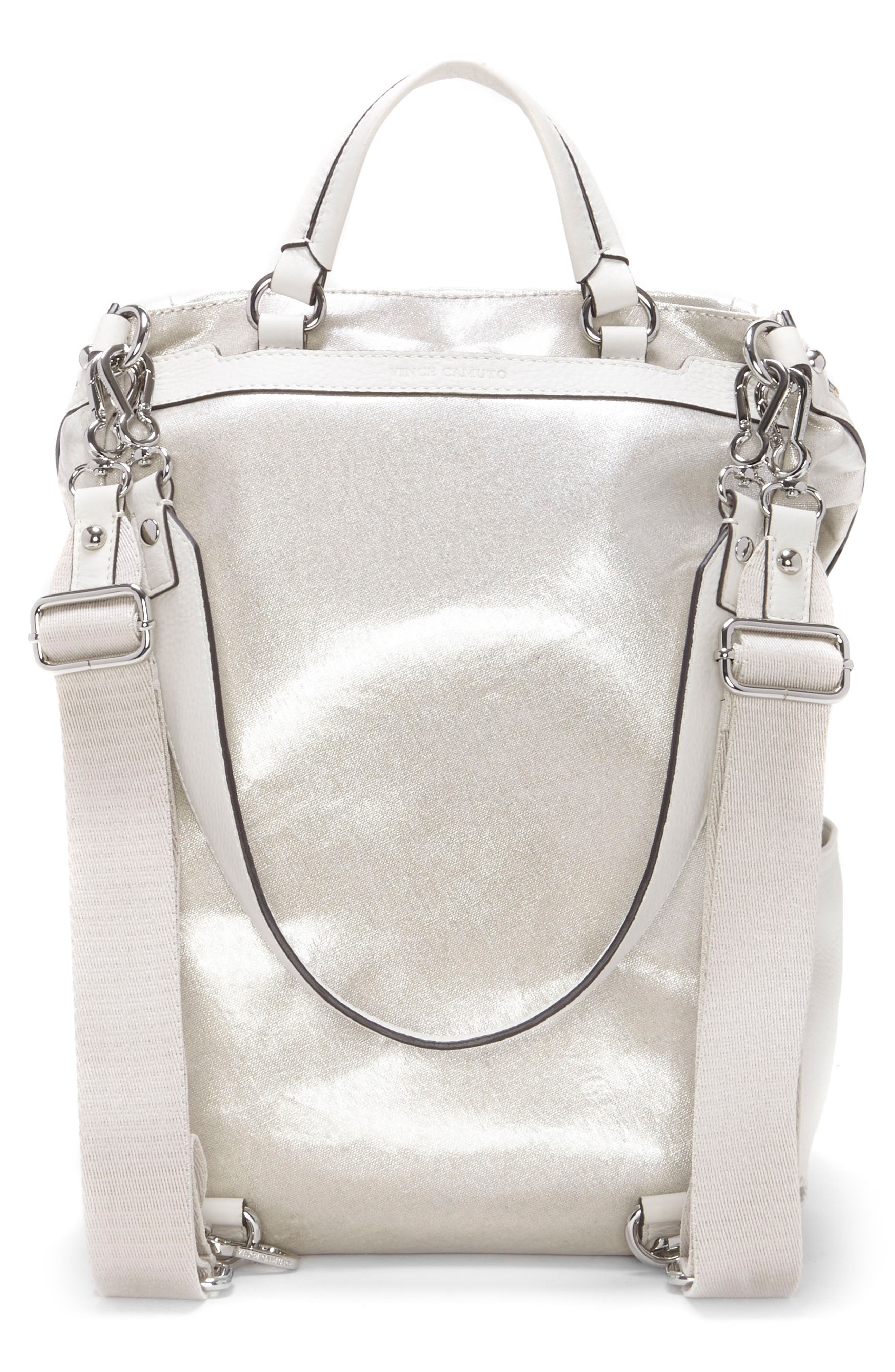 Patch NYL Leather & Nylon Backpack,                             Alternate thumbnail 2, color,                             Silver