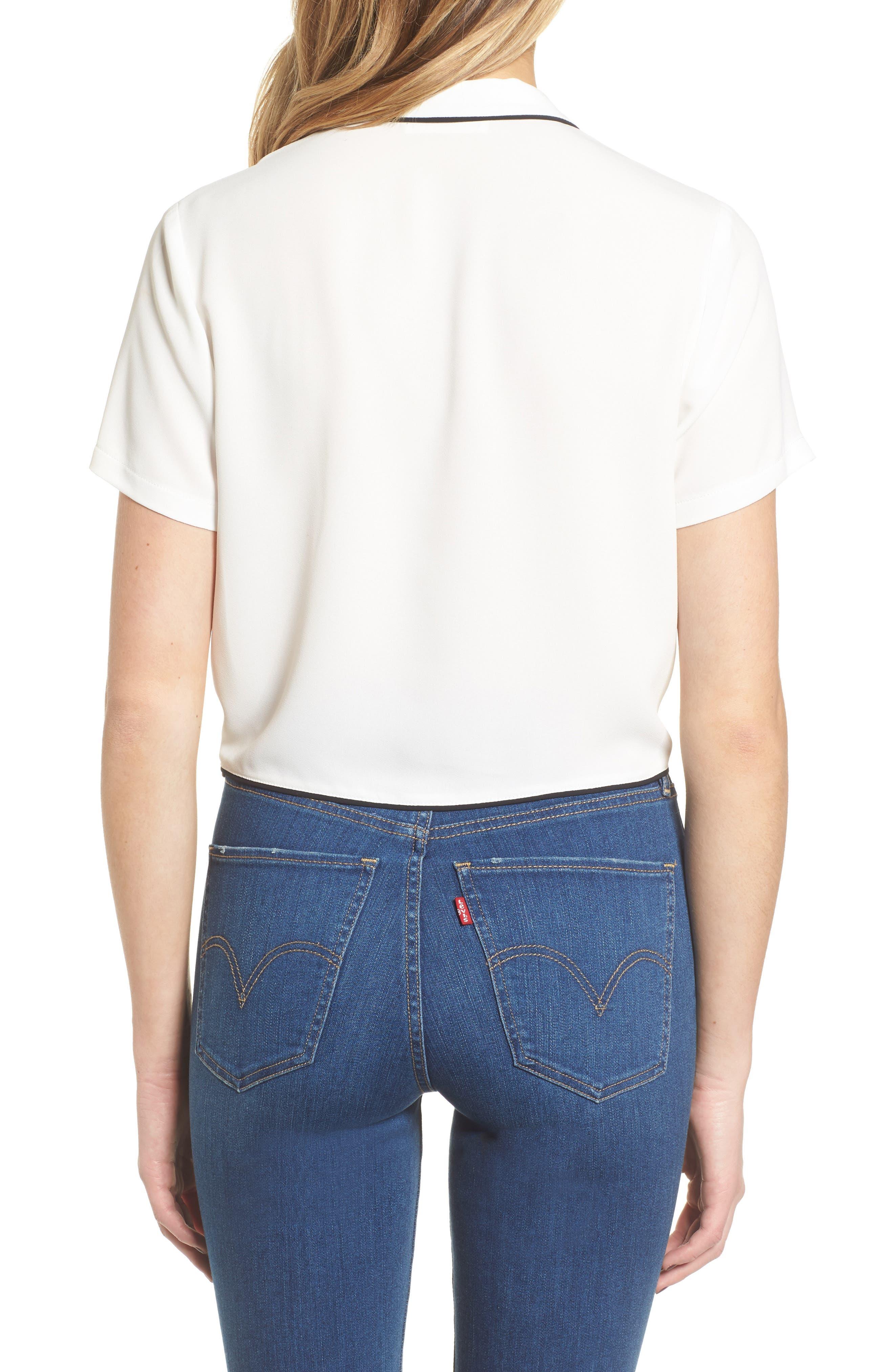 Tie Front Button-Up Shirt,                             Alternate thumbnail 2, color,                             White/ Black