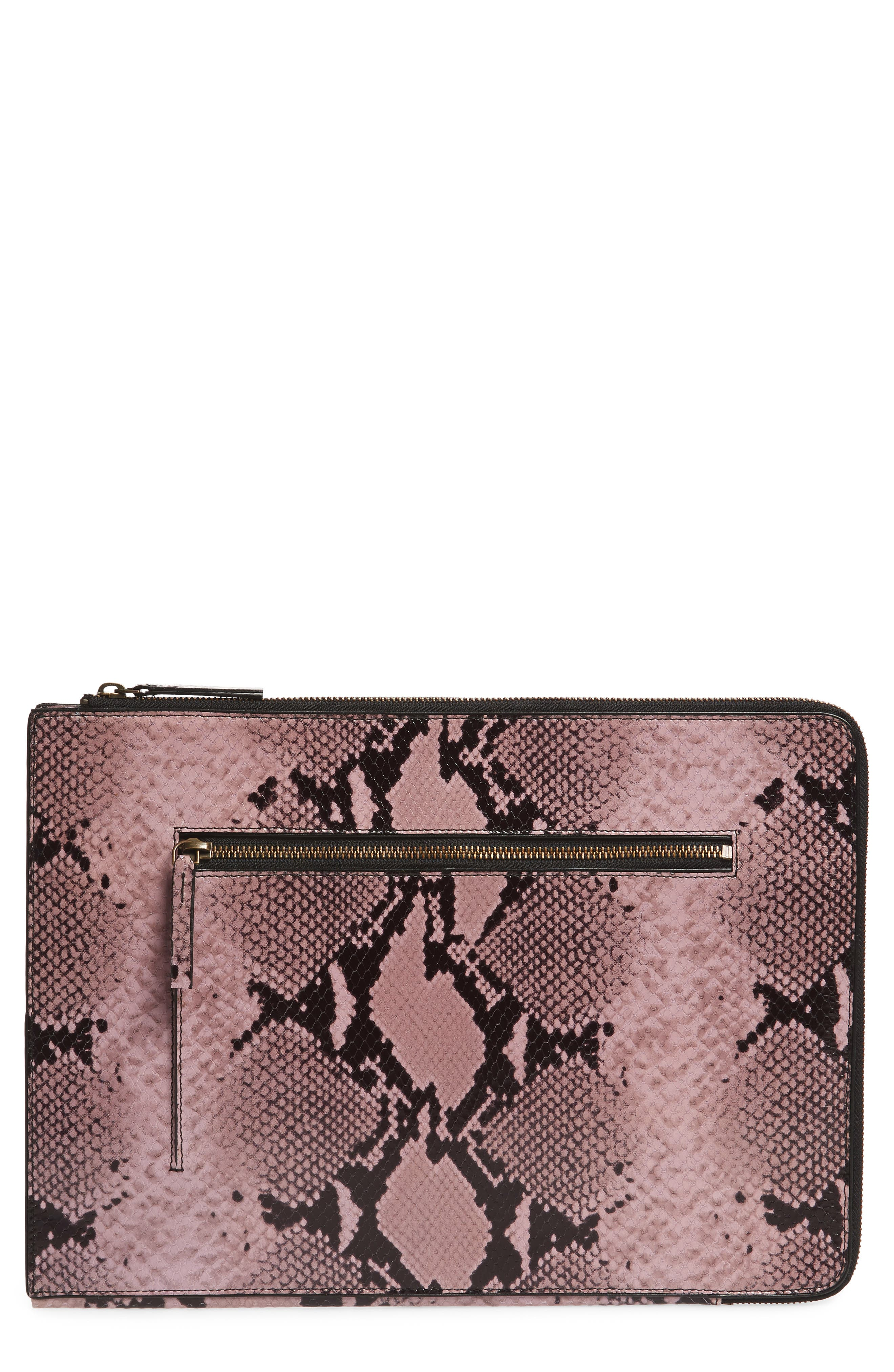 Leather Laptop Sleeve,                             Main thumbnail 1, color,                             Lilac