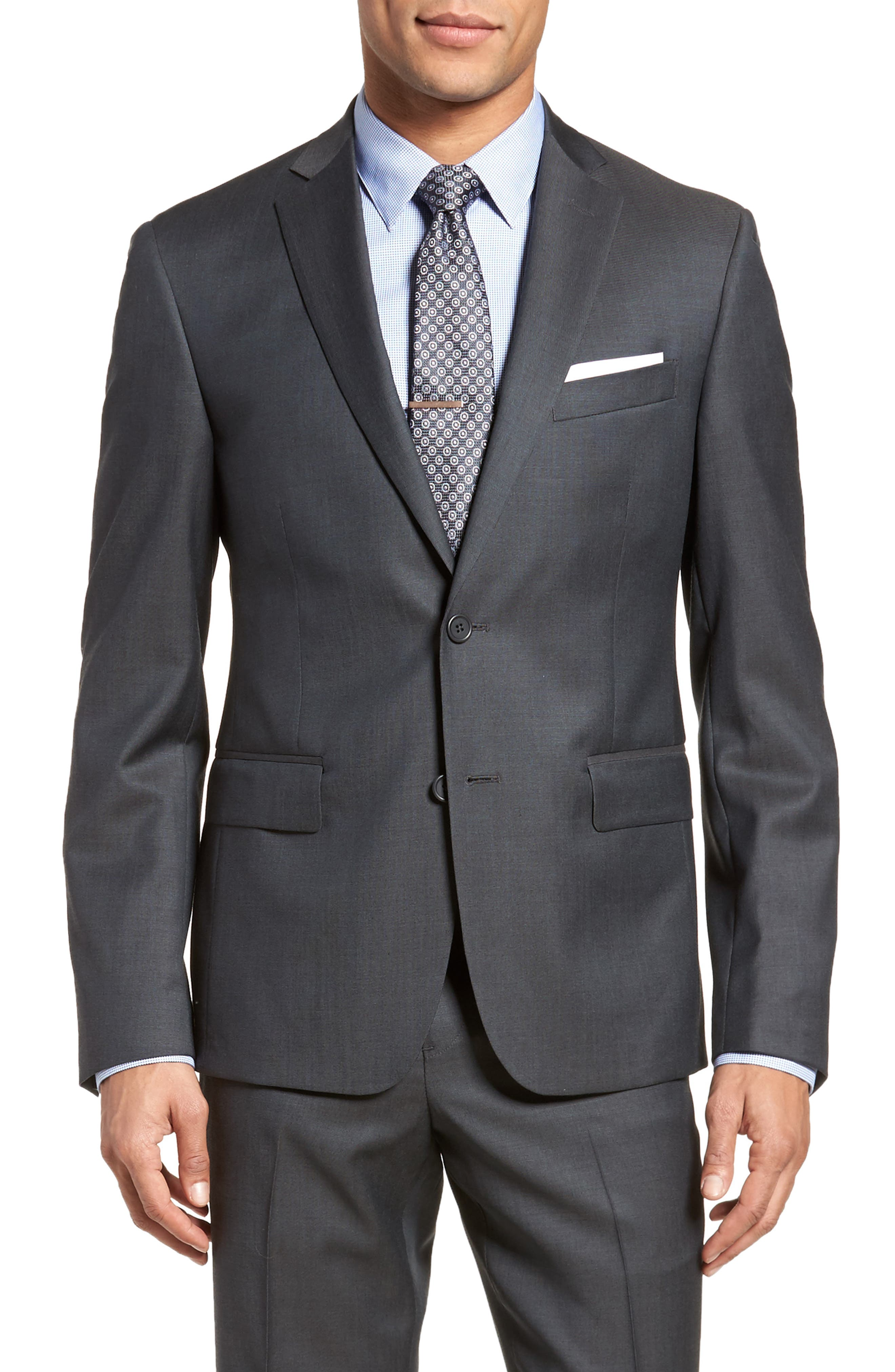 Extra Trim Fit Solid Wool Suit,                             Alternate thumbnail 5, color,                             Charcoal