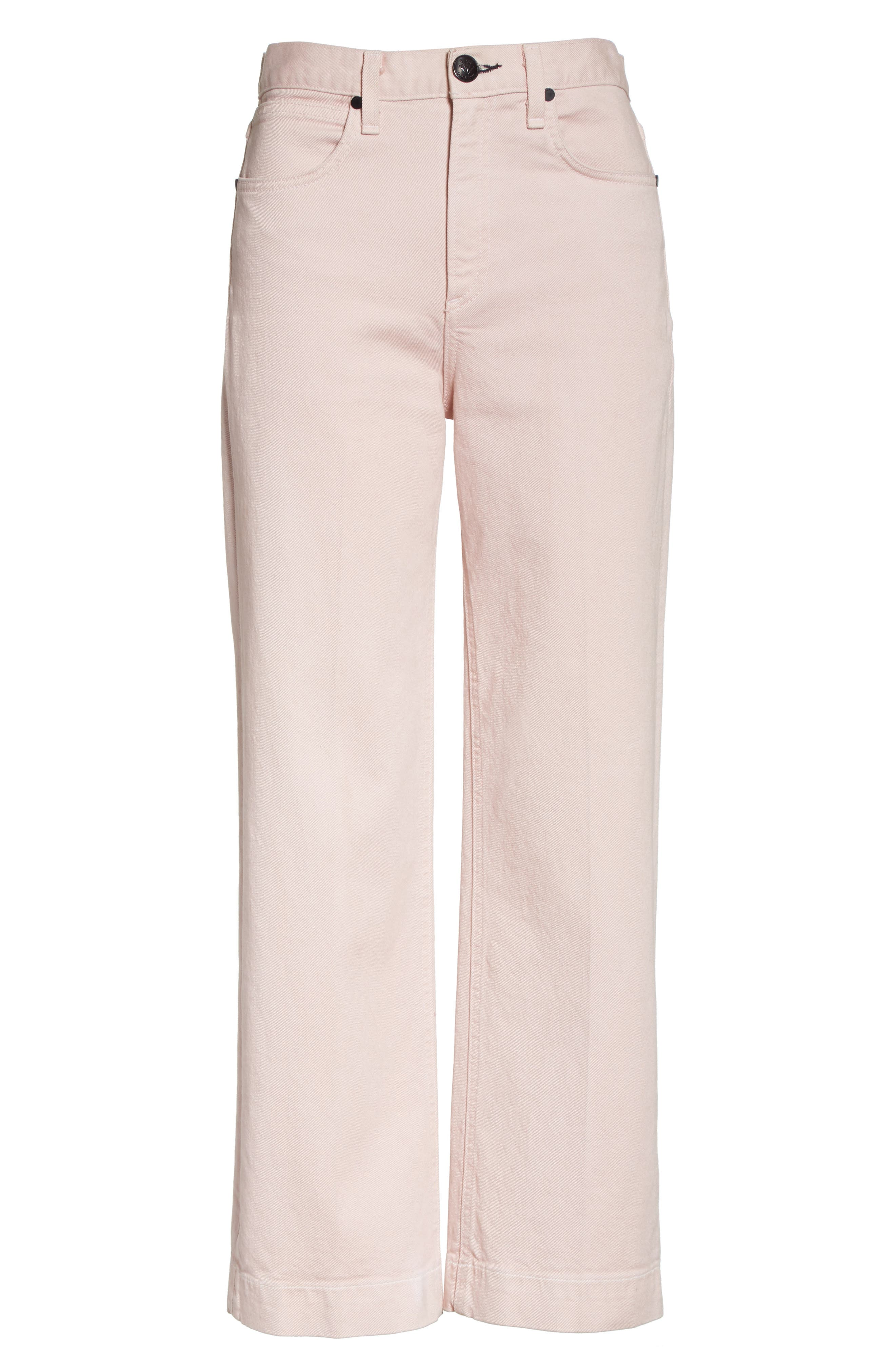 Justine High Waist Trouser Jeans,                             Alternate thumbnail 7, color,                             Blush Twill