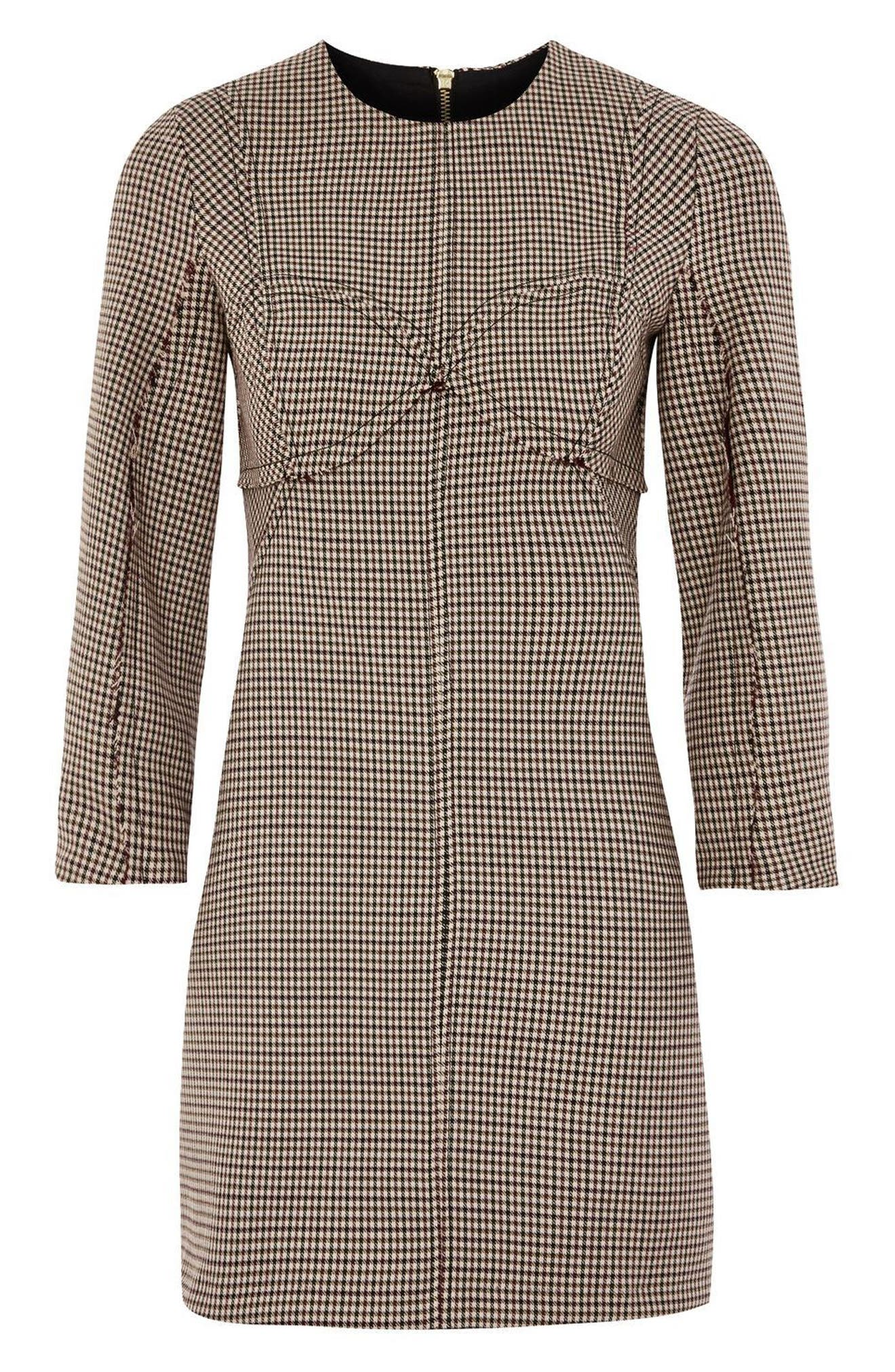 Alternate Image 4  - Topshop Topstitch Check Shift Dress