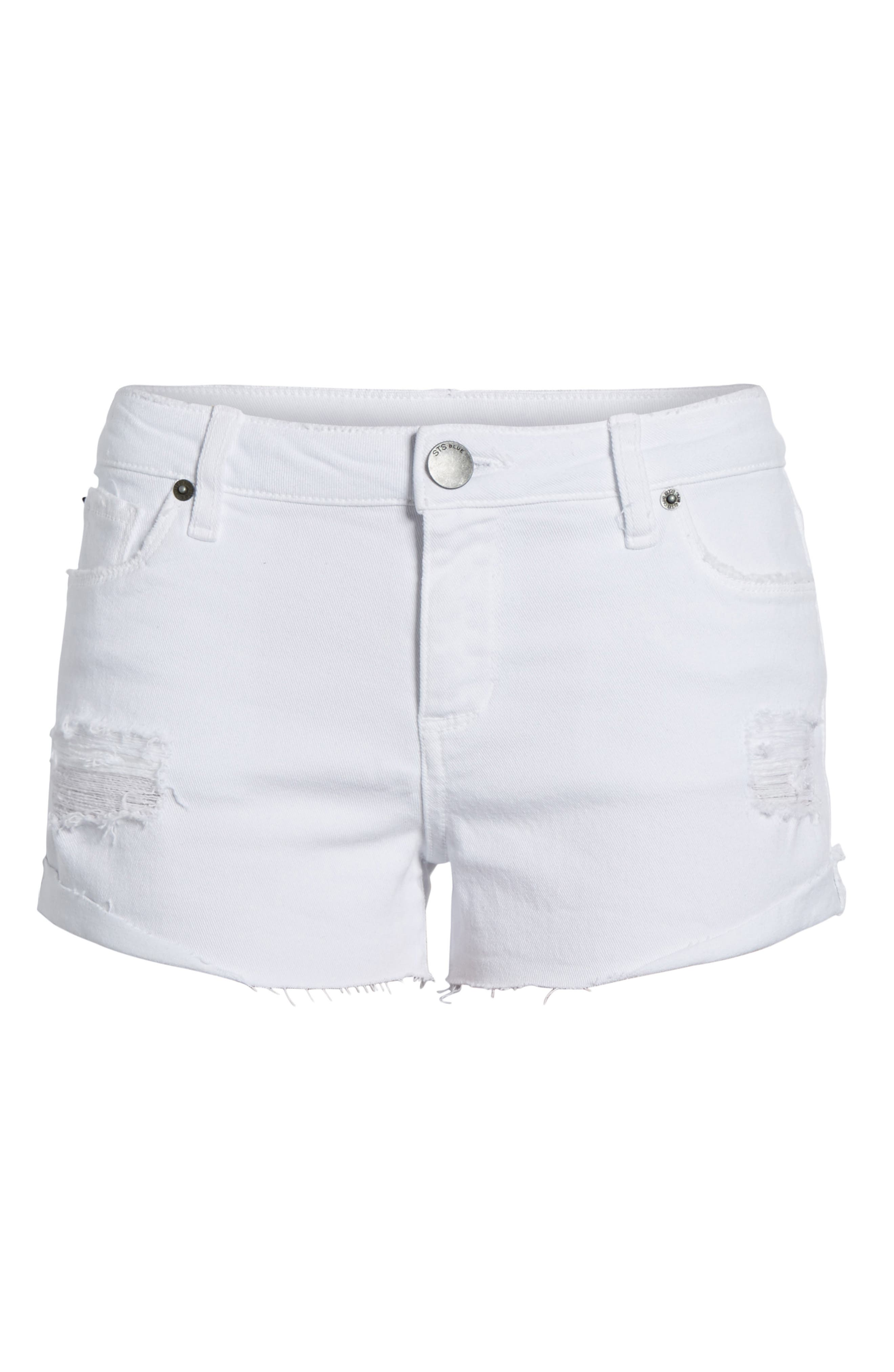 Distressed Boyfriend Denim Shorts,                             Alternate thumbnail 7, color,                             Optic White