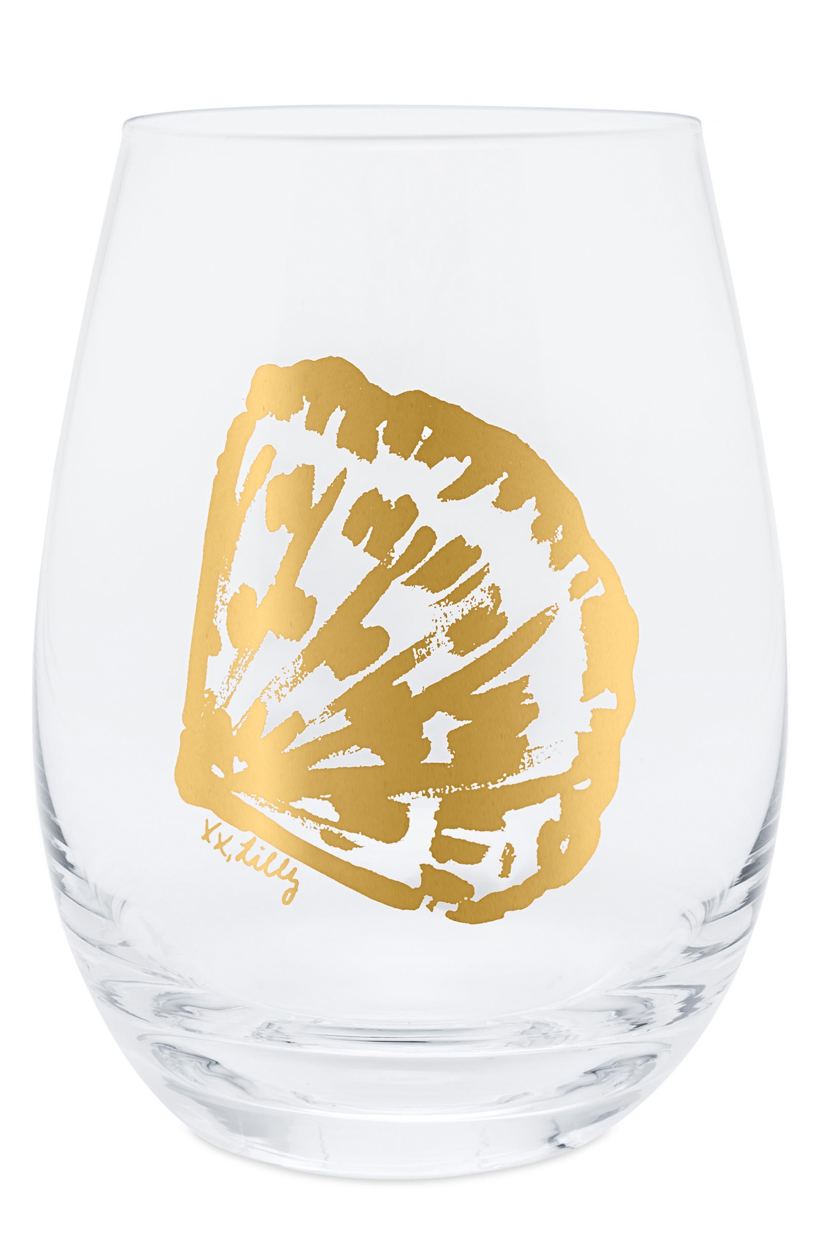 Set of 2 Stemless Wine Glasses,                             Alternate thumbnail 2, color,                             Metallic Gold