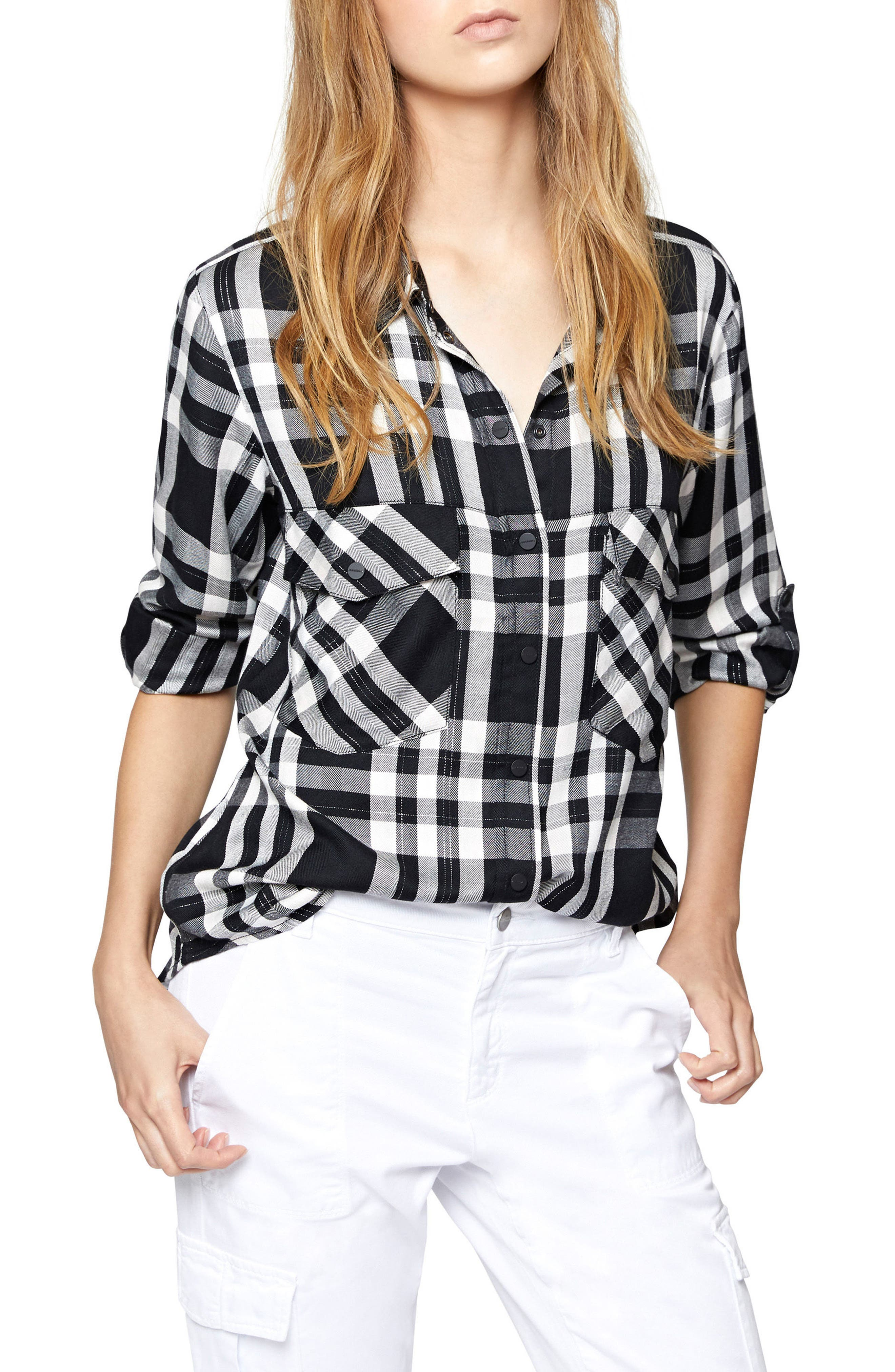 Plaid Boyfriend Shirt,                         Main,                         color, Silver Rose Plaid