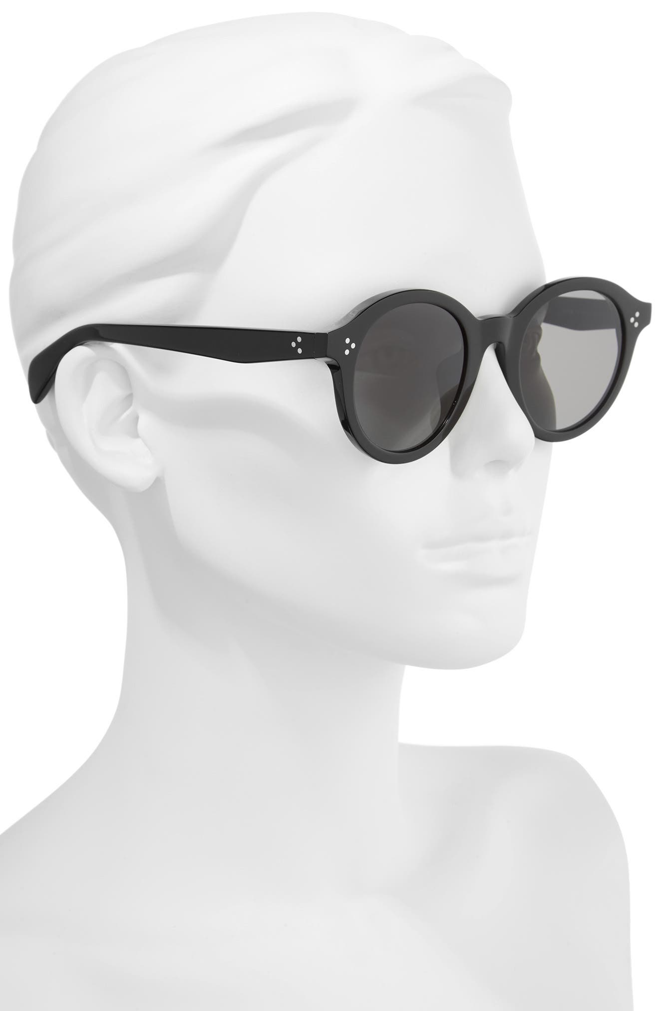 Special Fit 50mm Round Sunglasses,                             Alternate thumbnail 2, color,                             Black/ Smoke