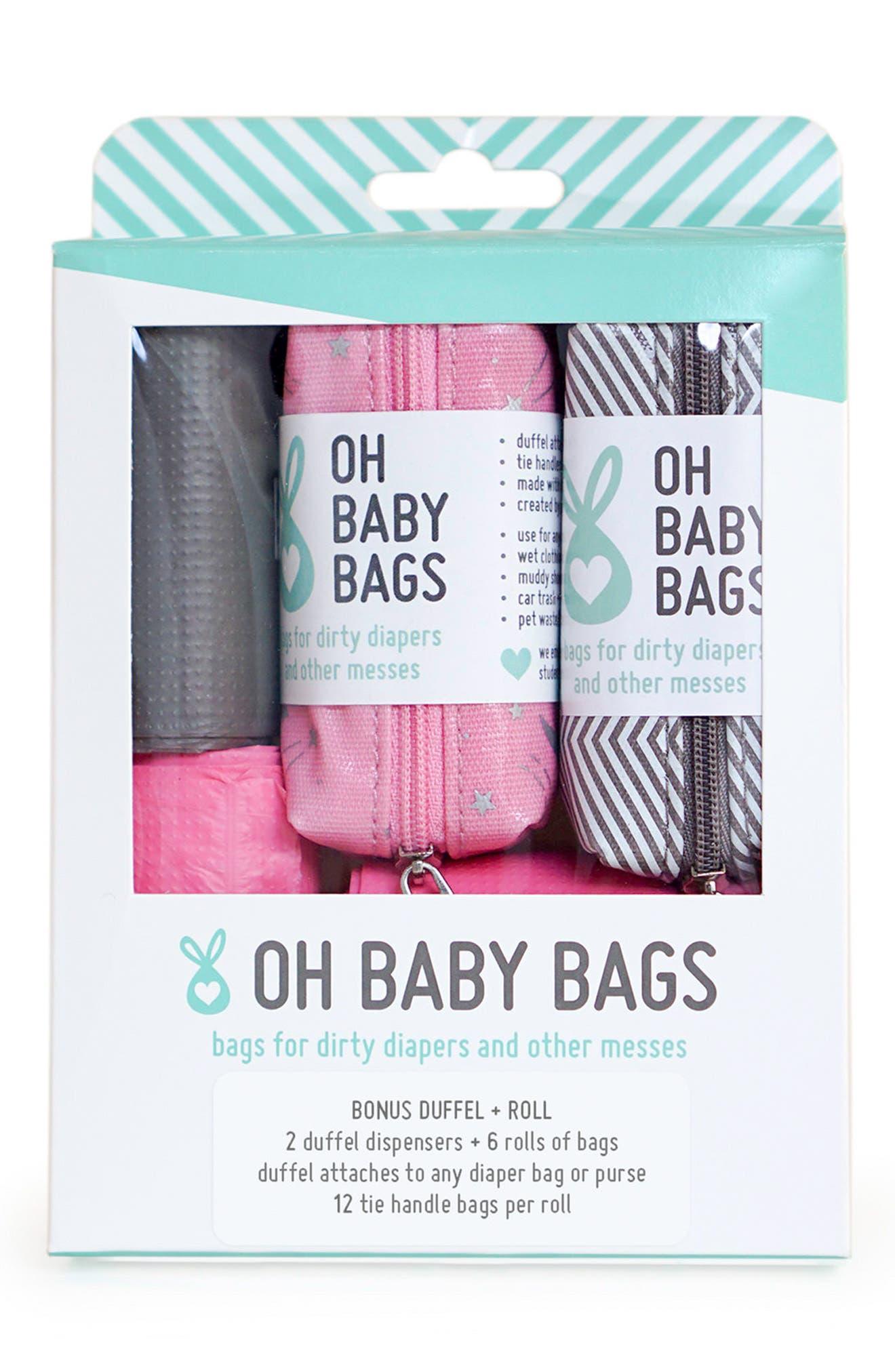 Portable Clip-On Dispenser & Bag Set,                             Main thumbnail 1, color,                             Pink/ Grey