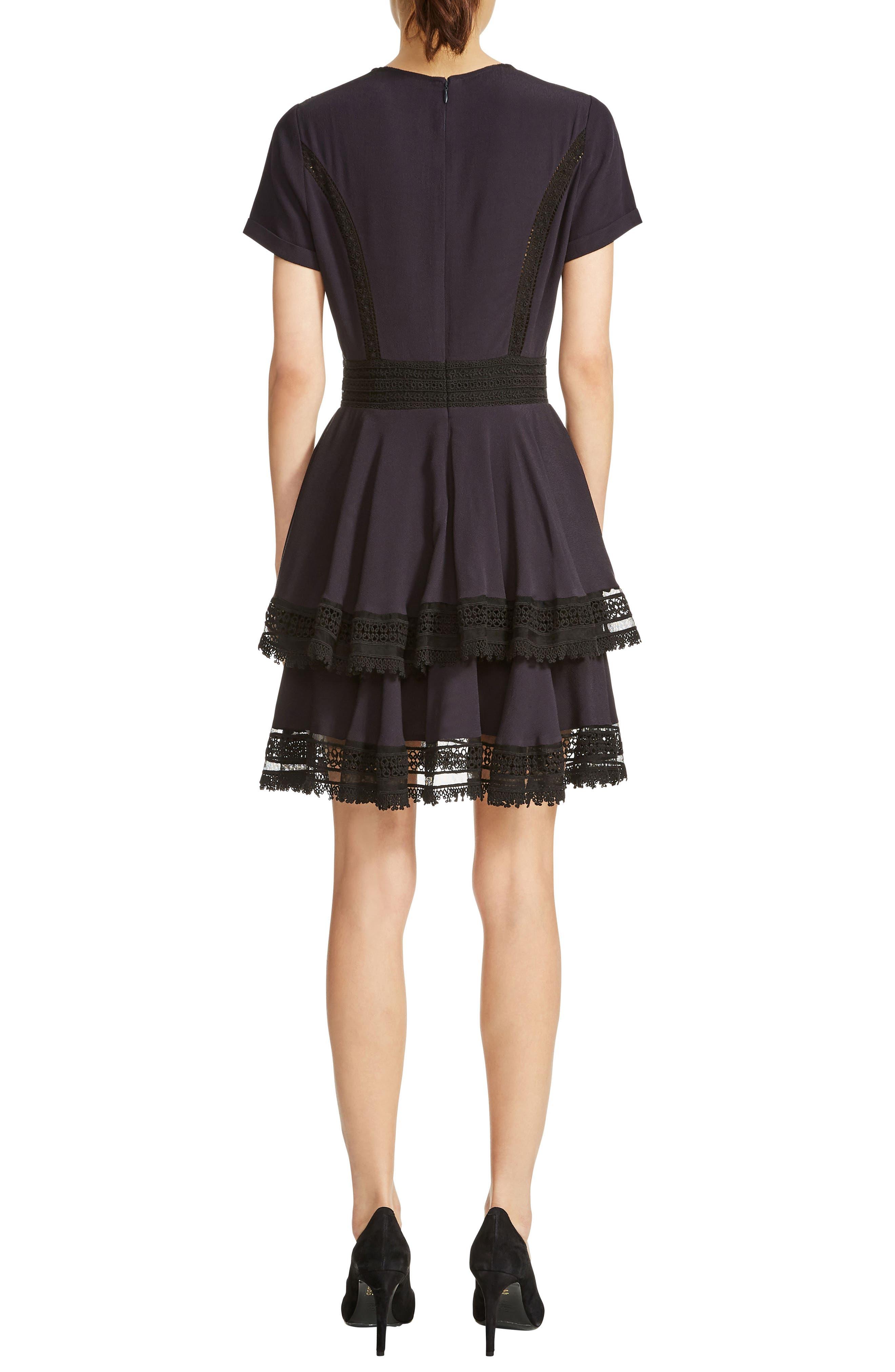 Raglia Lace Inset Mini Dress,                             Alternate thumbnail 2, color,                             Navy