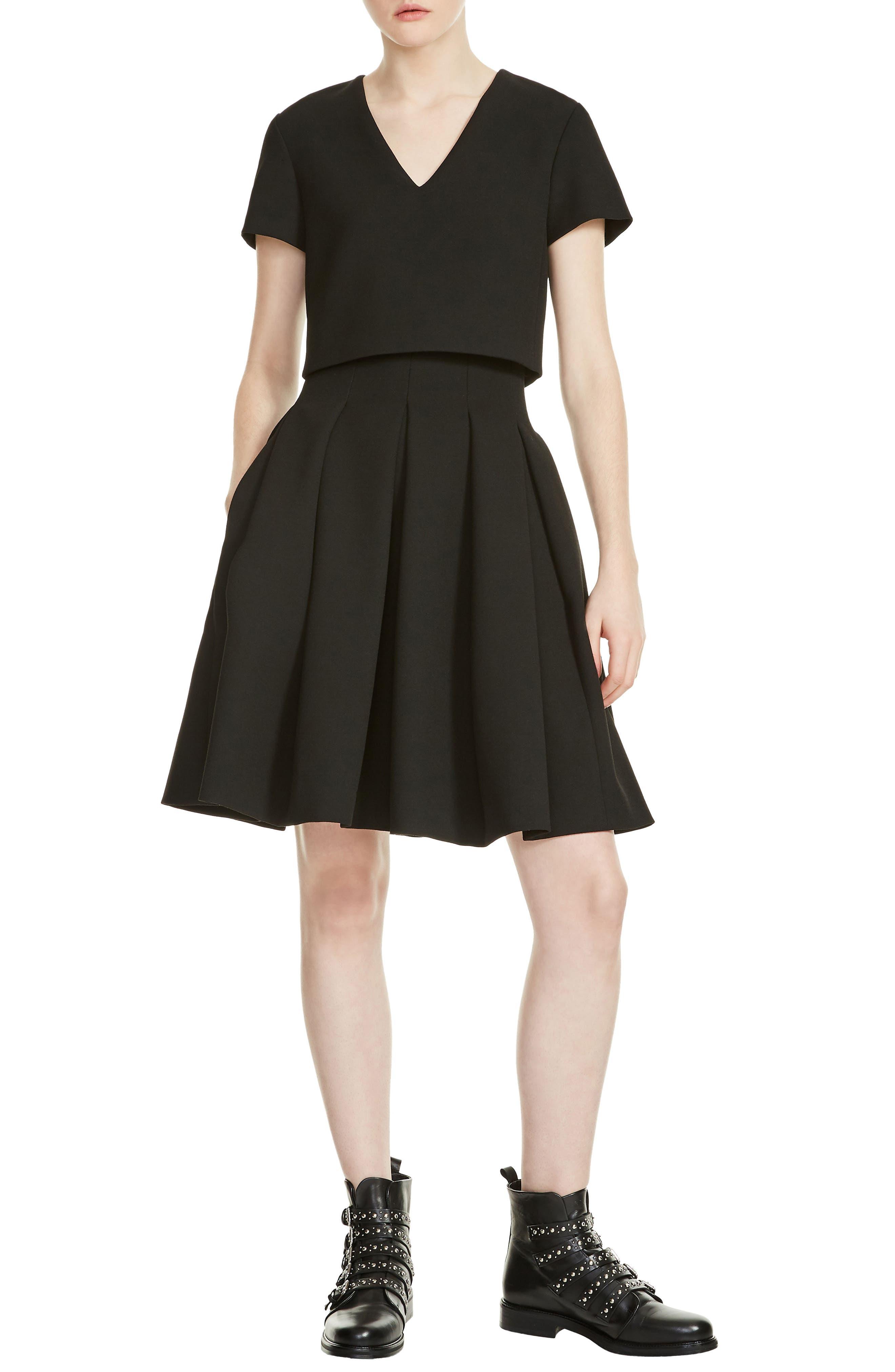 Rozane Popover Dress,                             Main thumbnail 1, color,                             Black 210