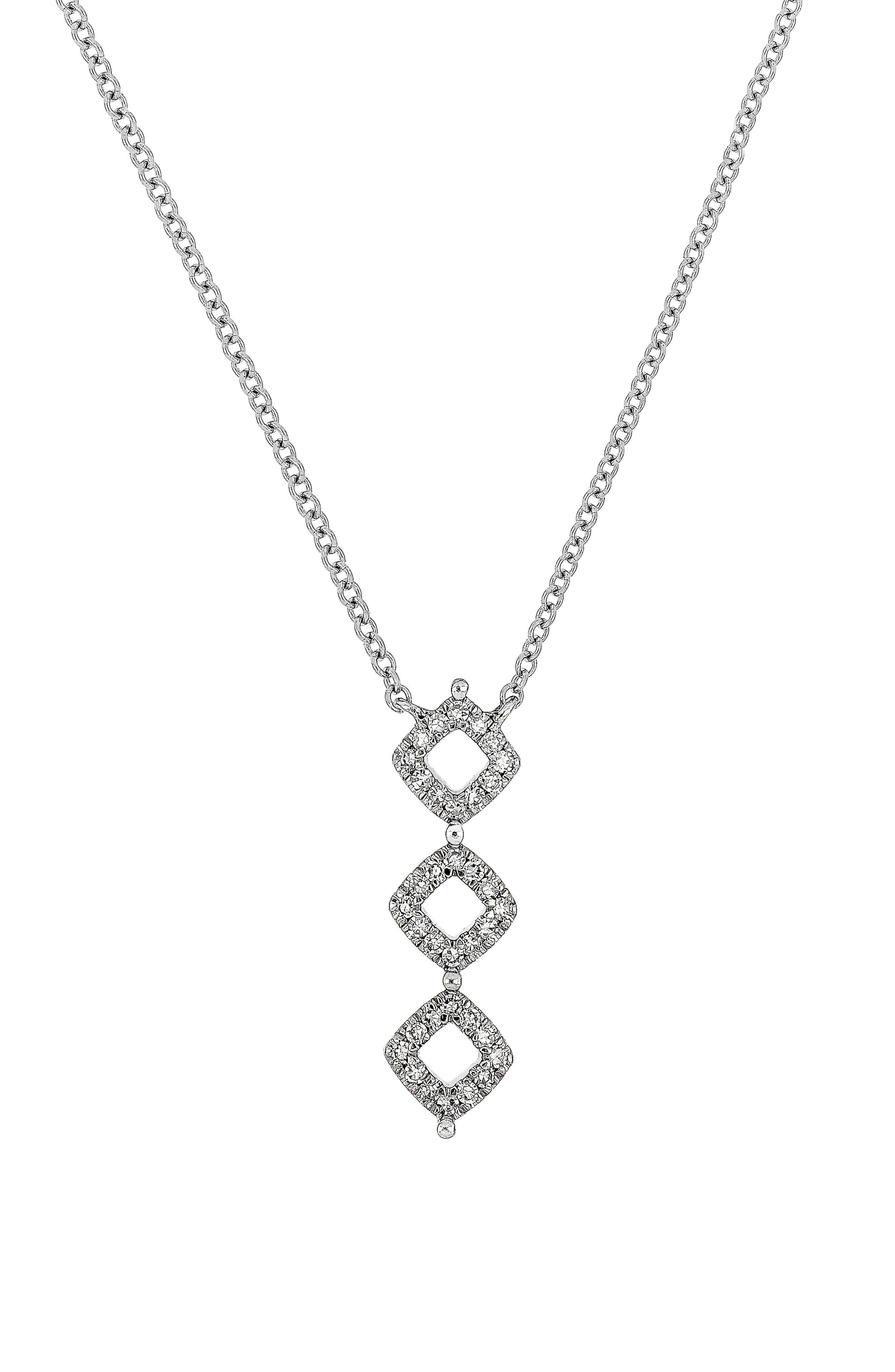 Carrière Three-Diamond Sterling Silver & Diamond Pendant Necklace,                             Main thumbnail 1, color,                             Silver/ Diamond
