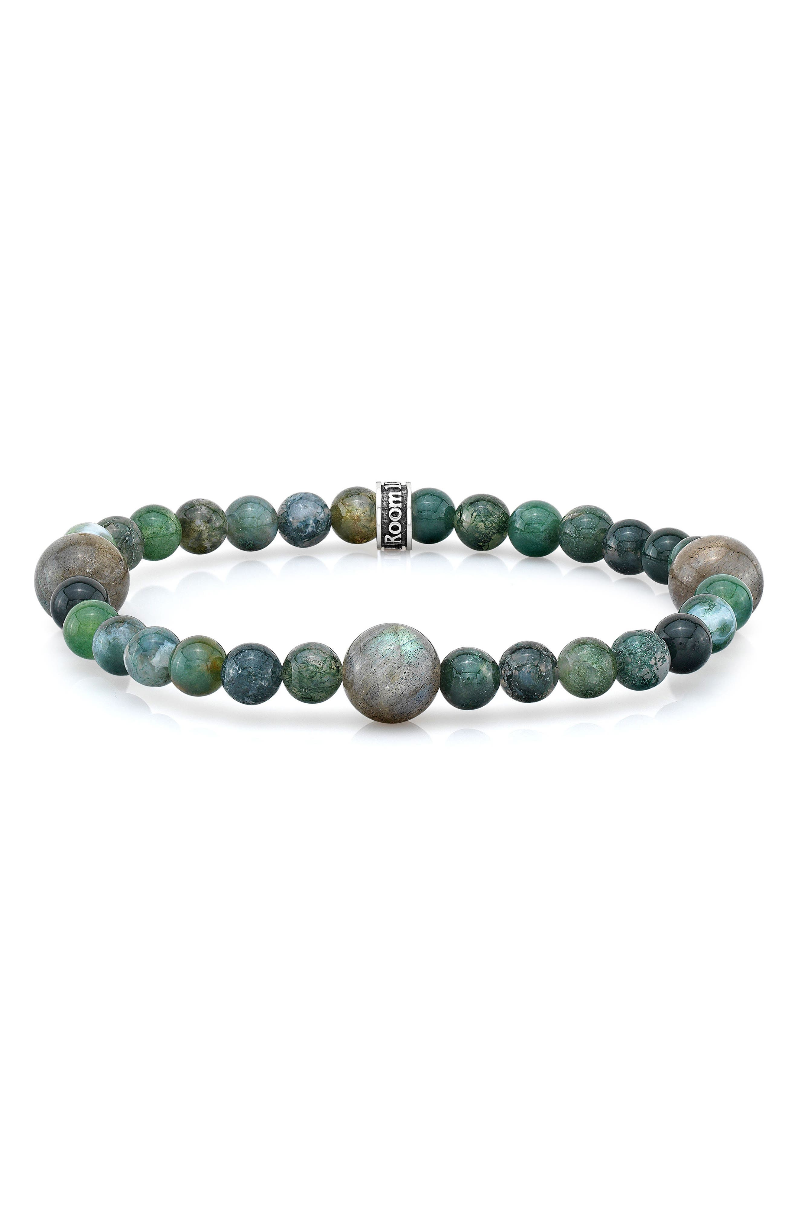 Moss Agate & Labradorite Bead Bracelet,                             Main thumbnail 1, color,                             Green