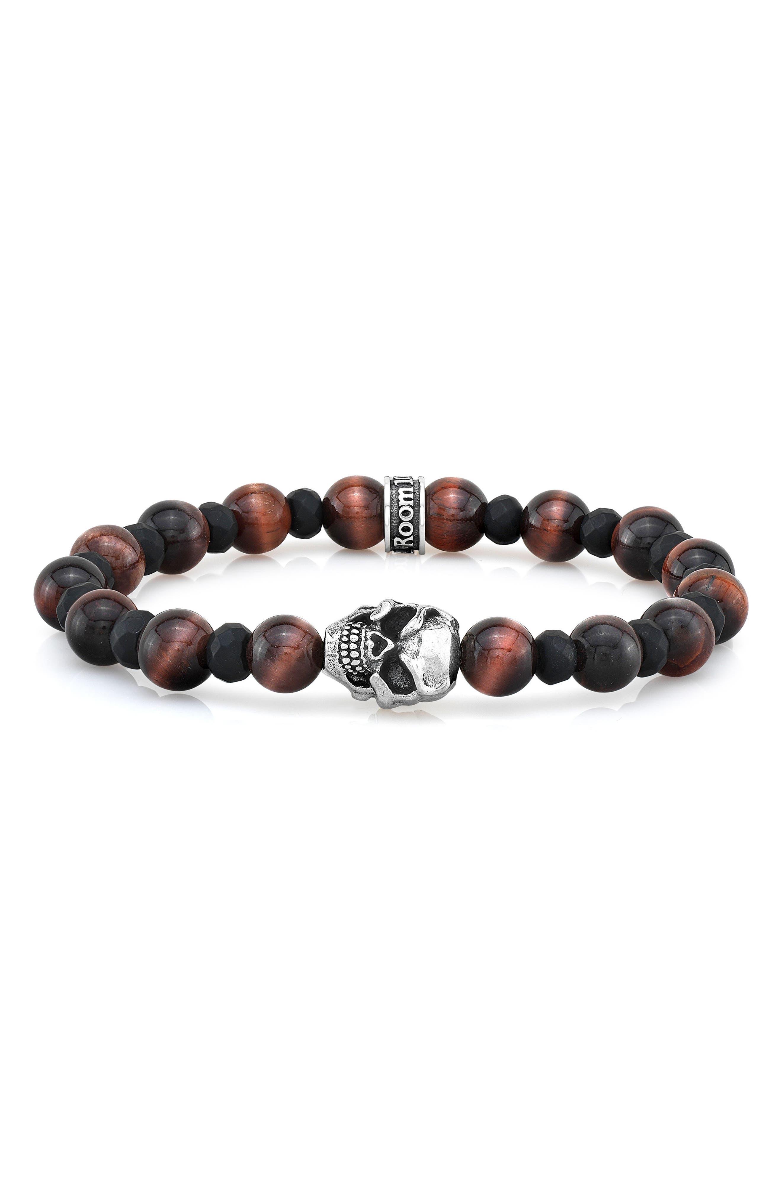 Tiger's Eye & Agate Bead Bracelet,                             Main thumbnail 1, color,                             Red/ Black