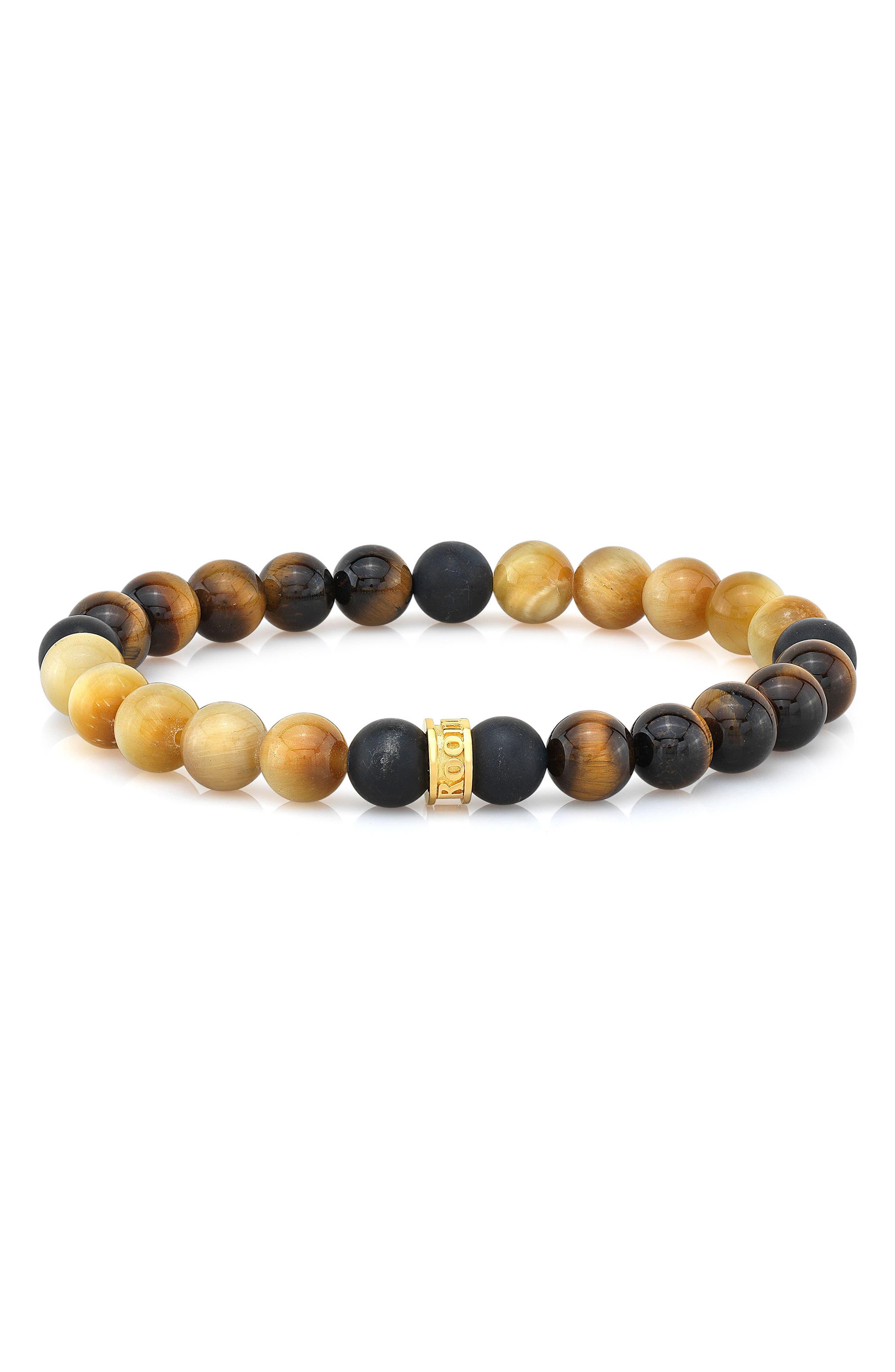 Tiger's Eye & Agate Bead Bracelet,                             Main thumbnail 1, color,                             Gold/ Brown/ Black