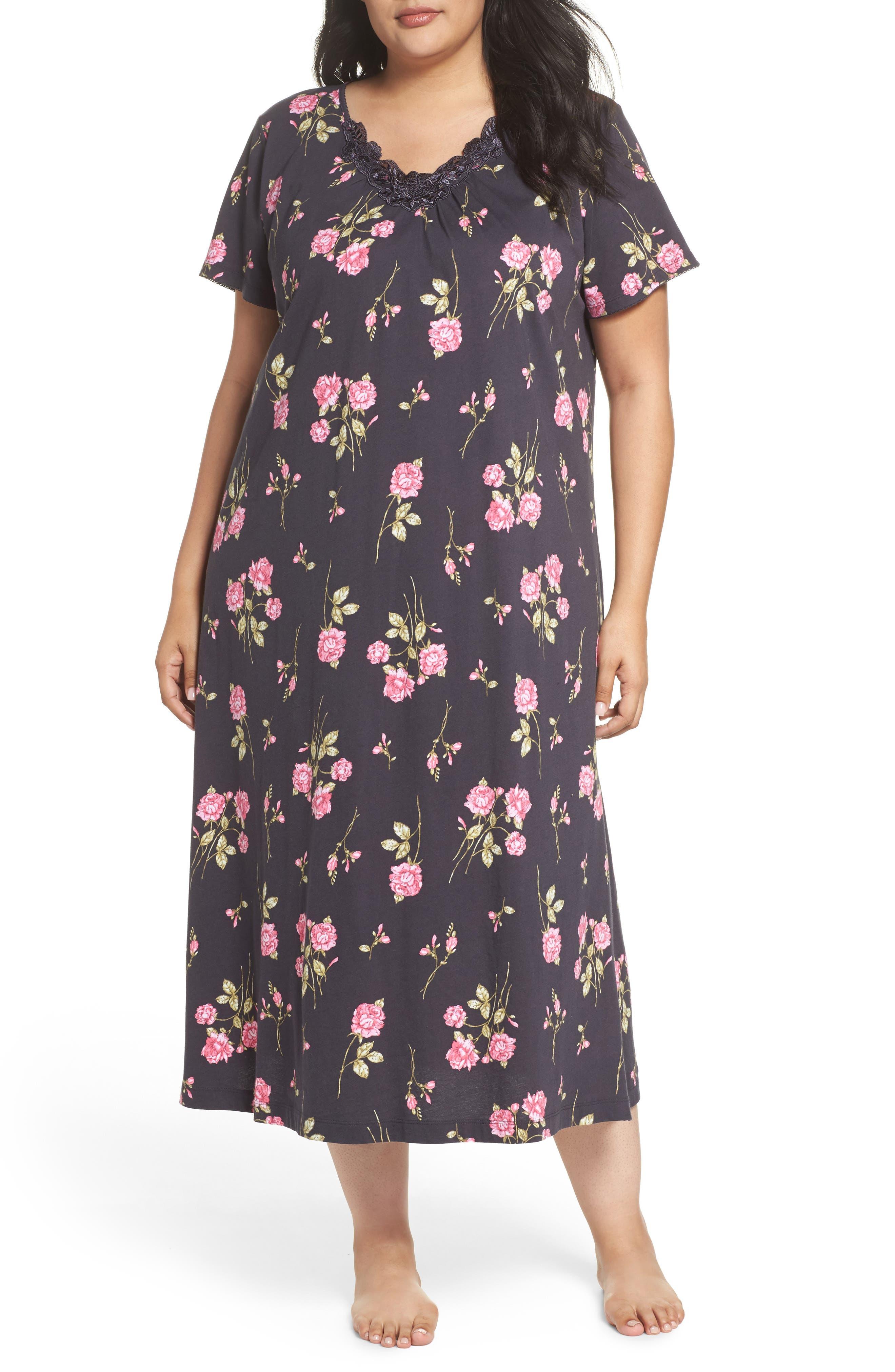 Carole Hochman Cotton Jersey Long Nightgown (Plus Size)