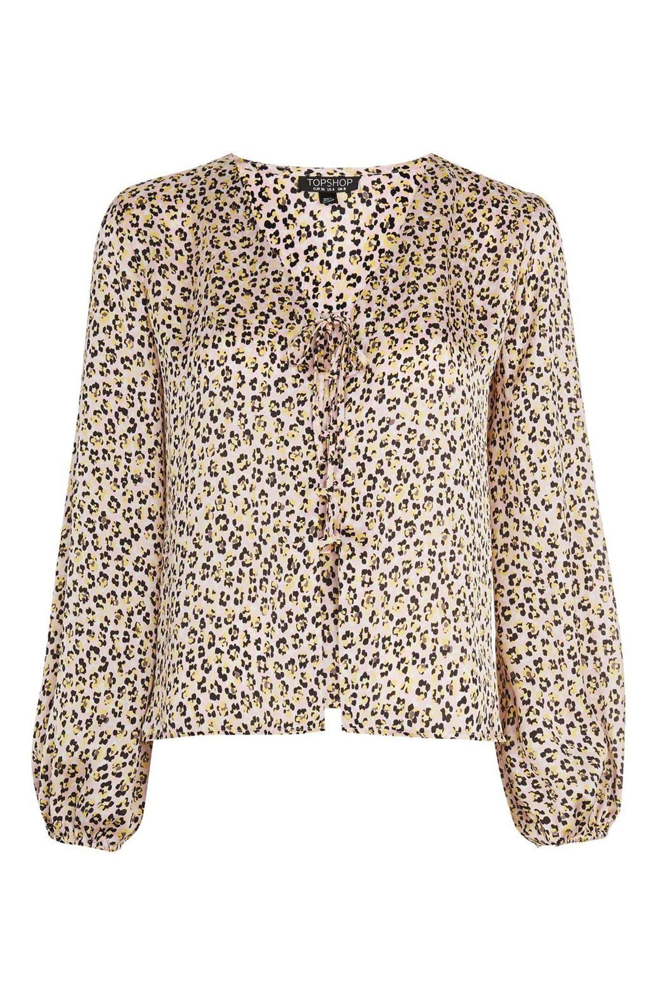 Leopard Print Tie Front Blouse,                             Alternate thumbnail 4, color,                             Pink Multi