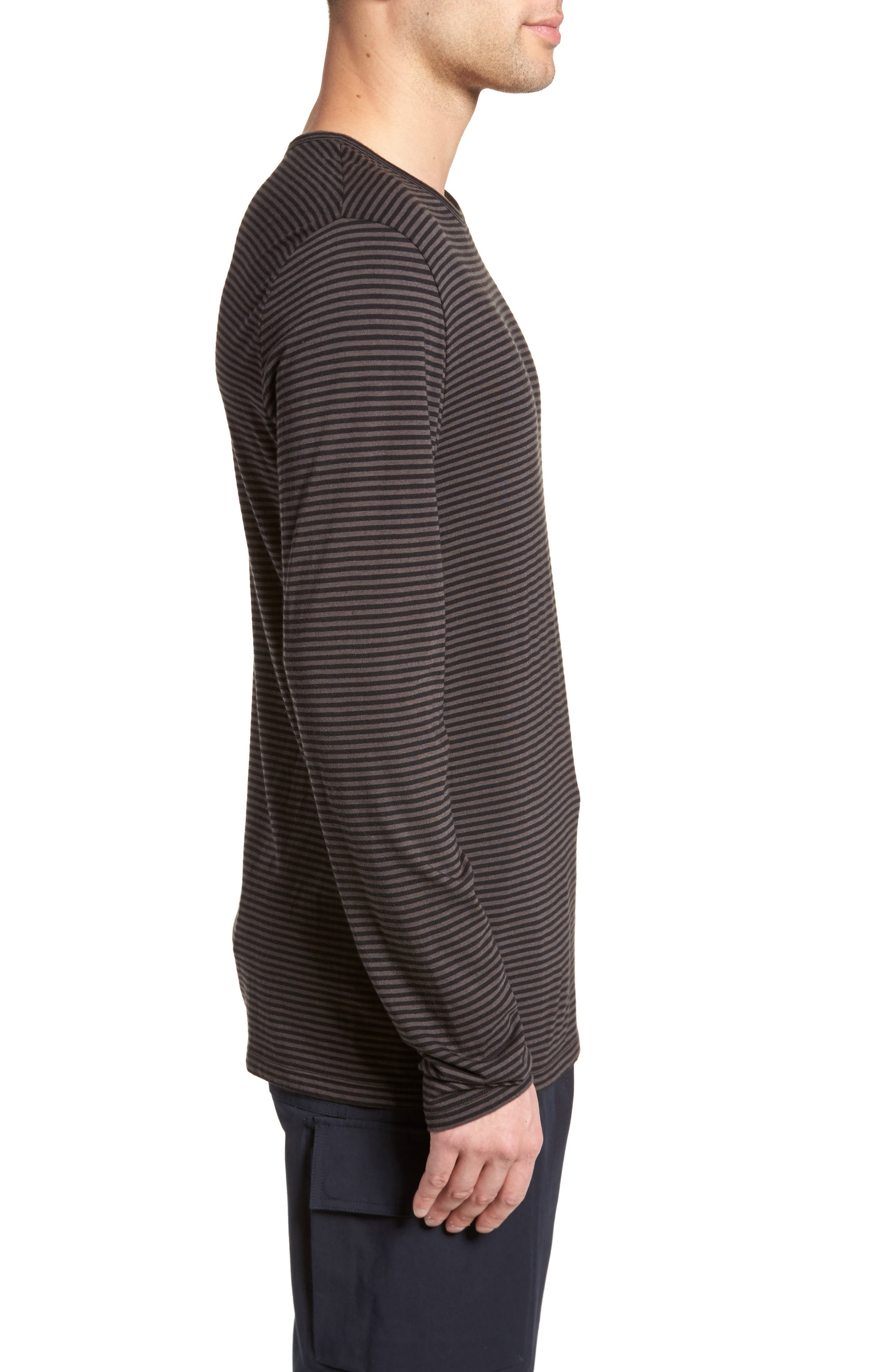 Feeder Stripe Long Sleeve Shirt,                             Alternate thumbnail 3, color,                             Black/ Stone Grey