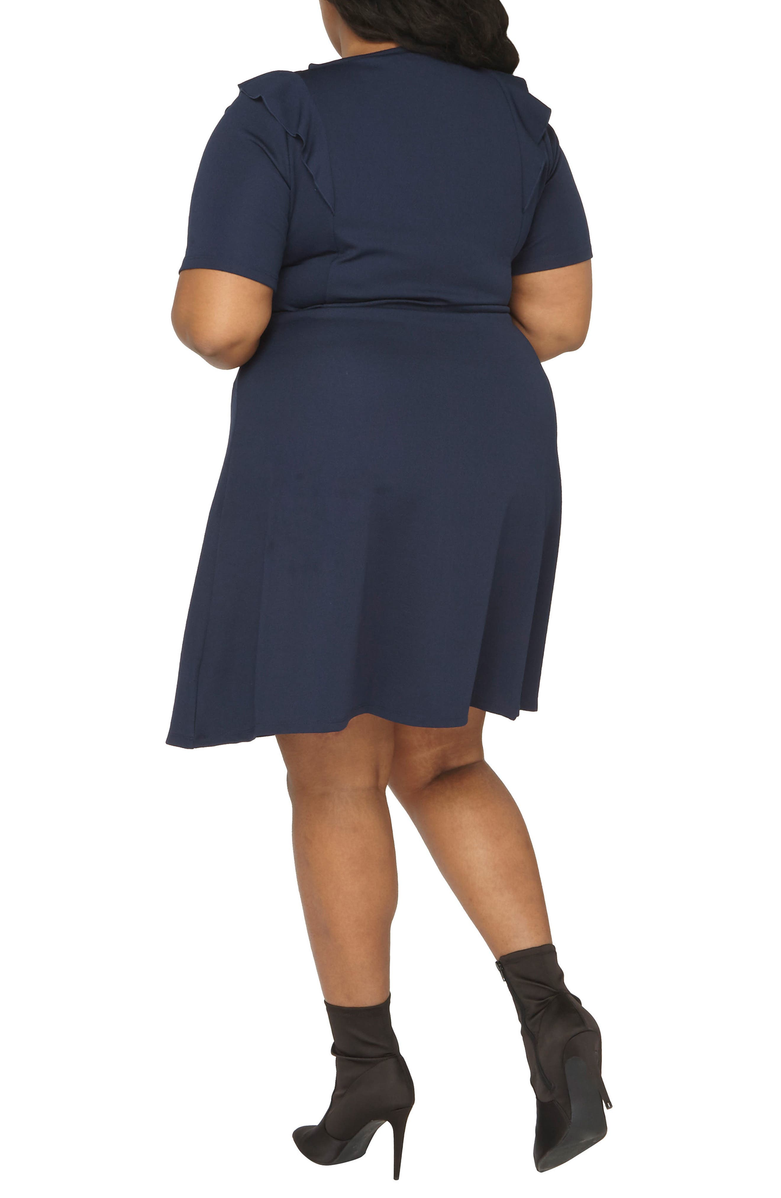 Ruffle Shoulder Knit Dress,                             Alternate thumbnail 2, color,                             Navy