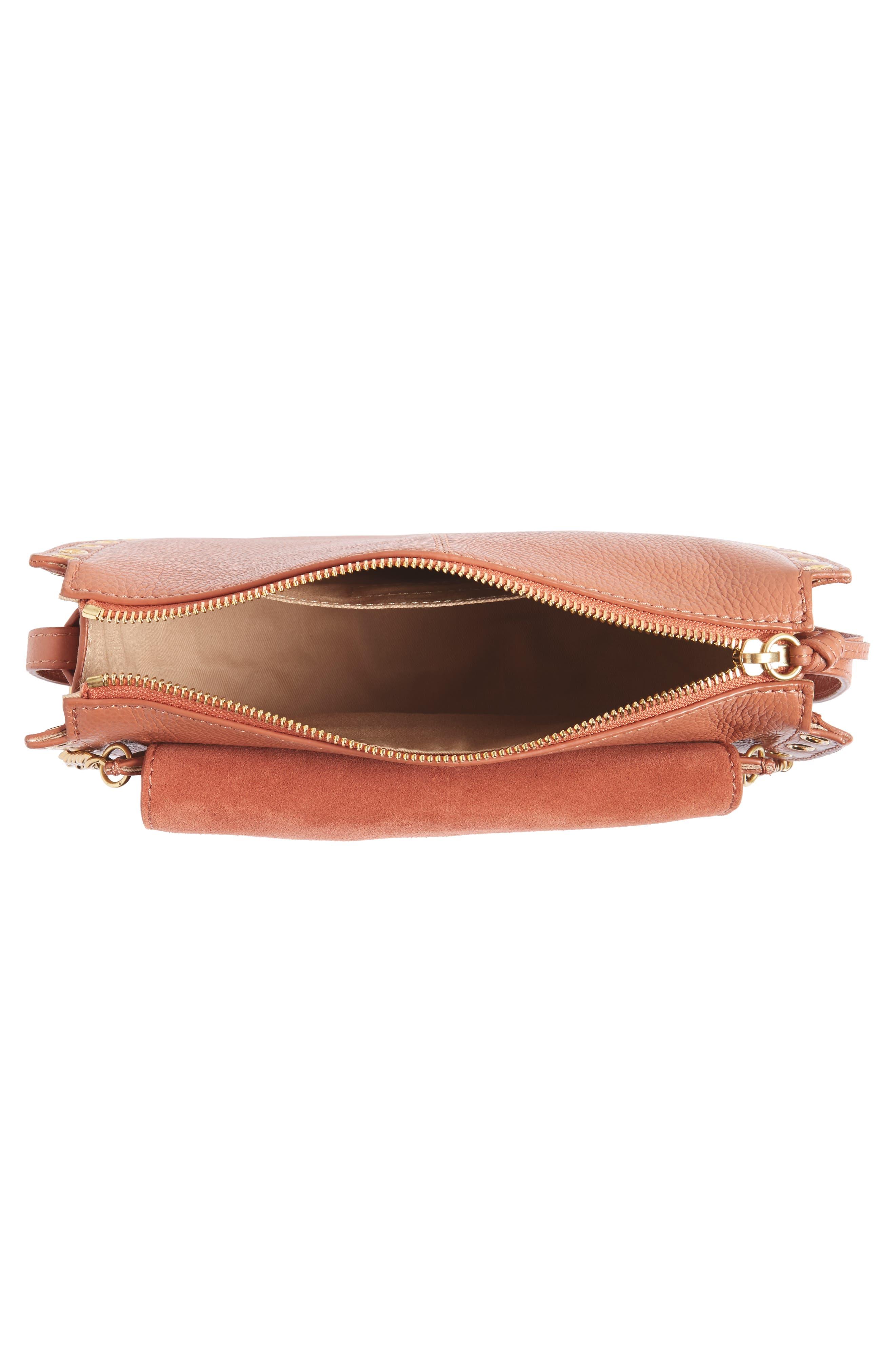 Kriss Leather & Suede Grommet Shoulder Bag,                             Alternate thumbnail 4, color,                             Cheek