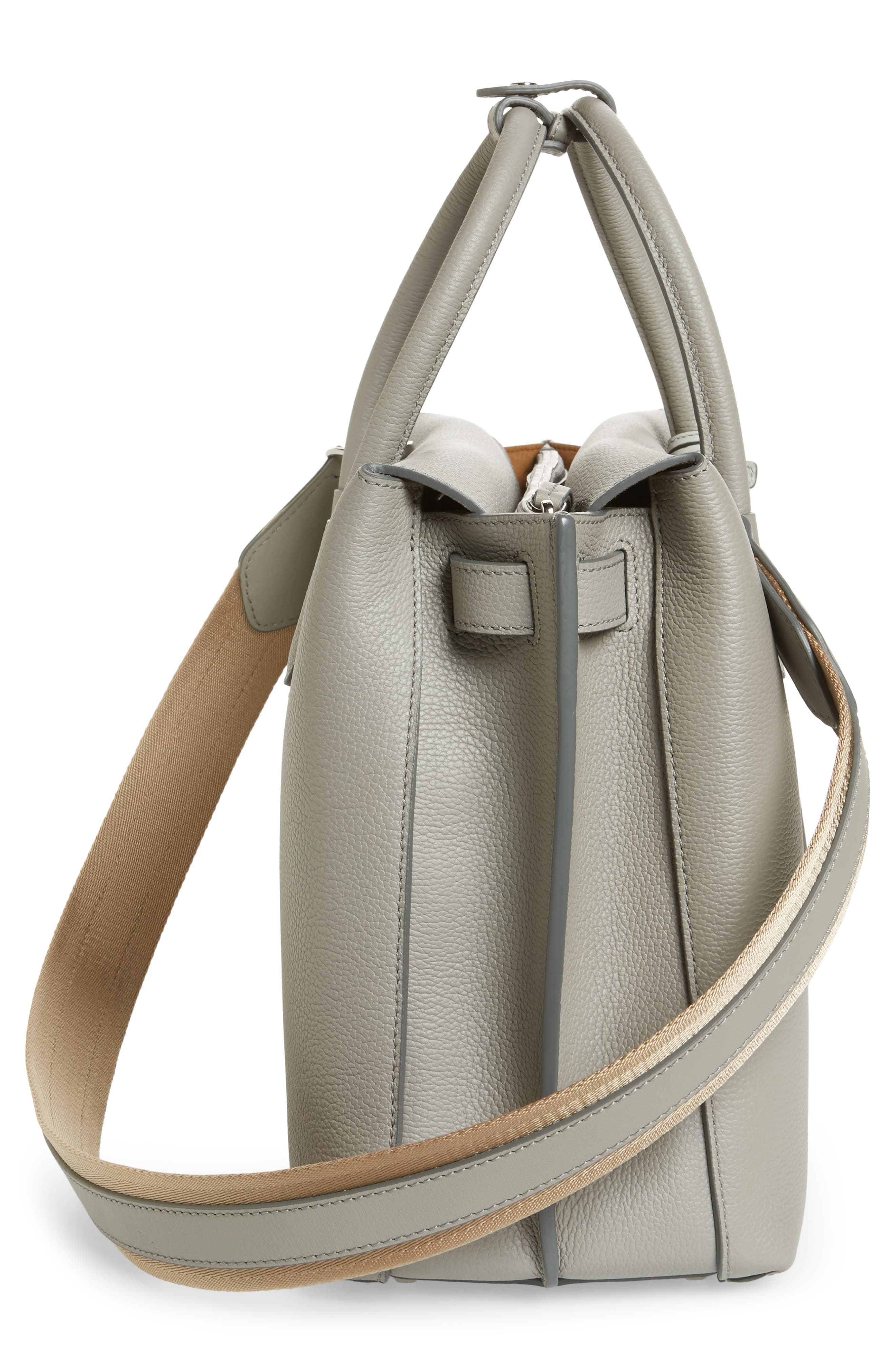 Large Milla Leather Tote,                             Alternate thumbnail 3, color,                             Arch Grey