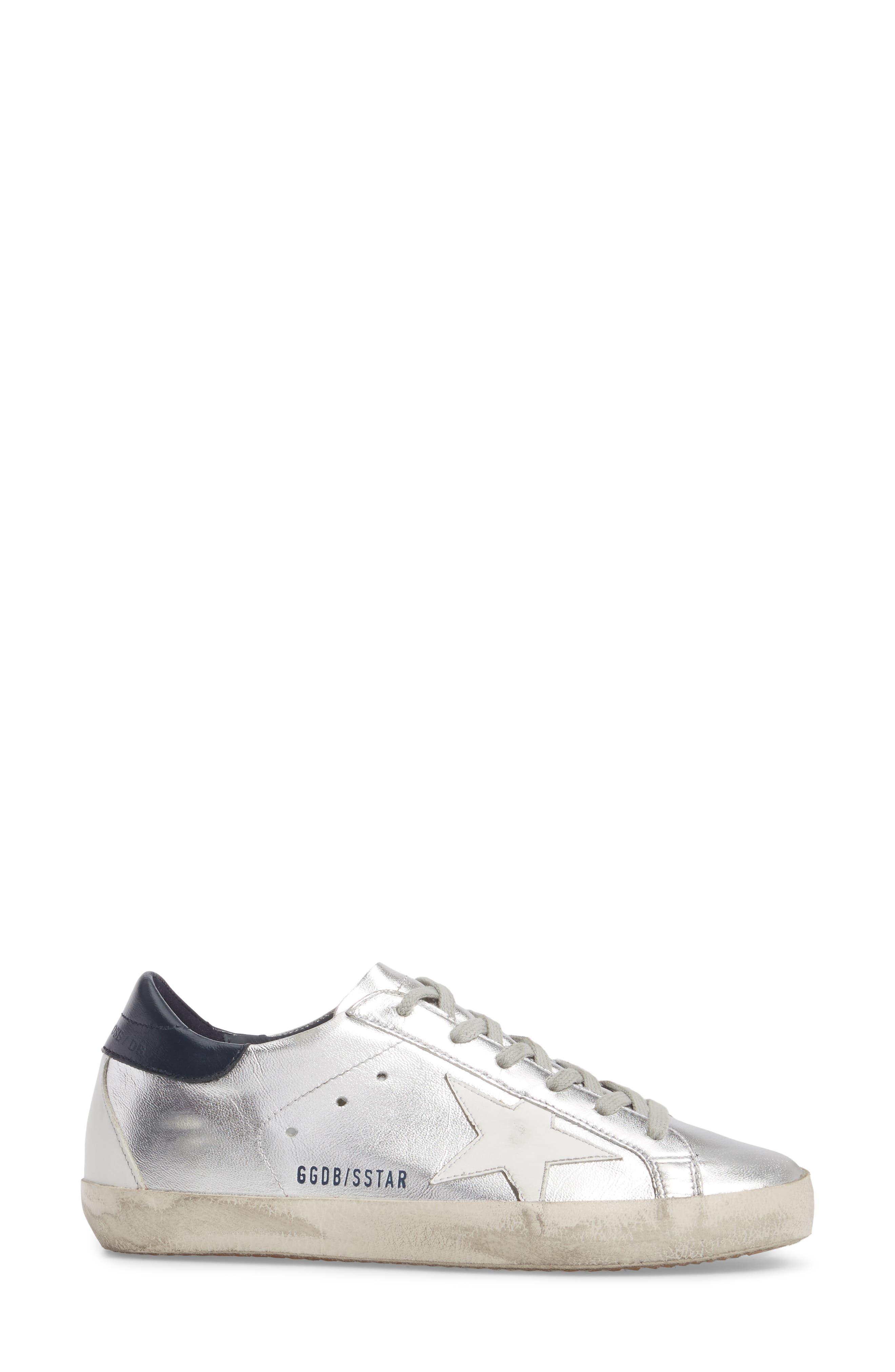 Superstar Metallic Low Top Sneaker,                             Alternate thumbnail 3, color,                             Silver