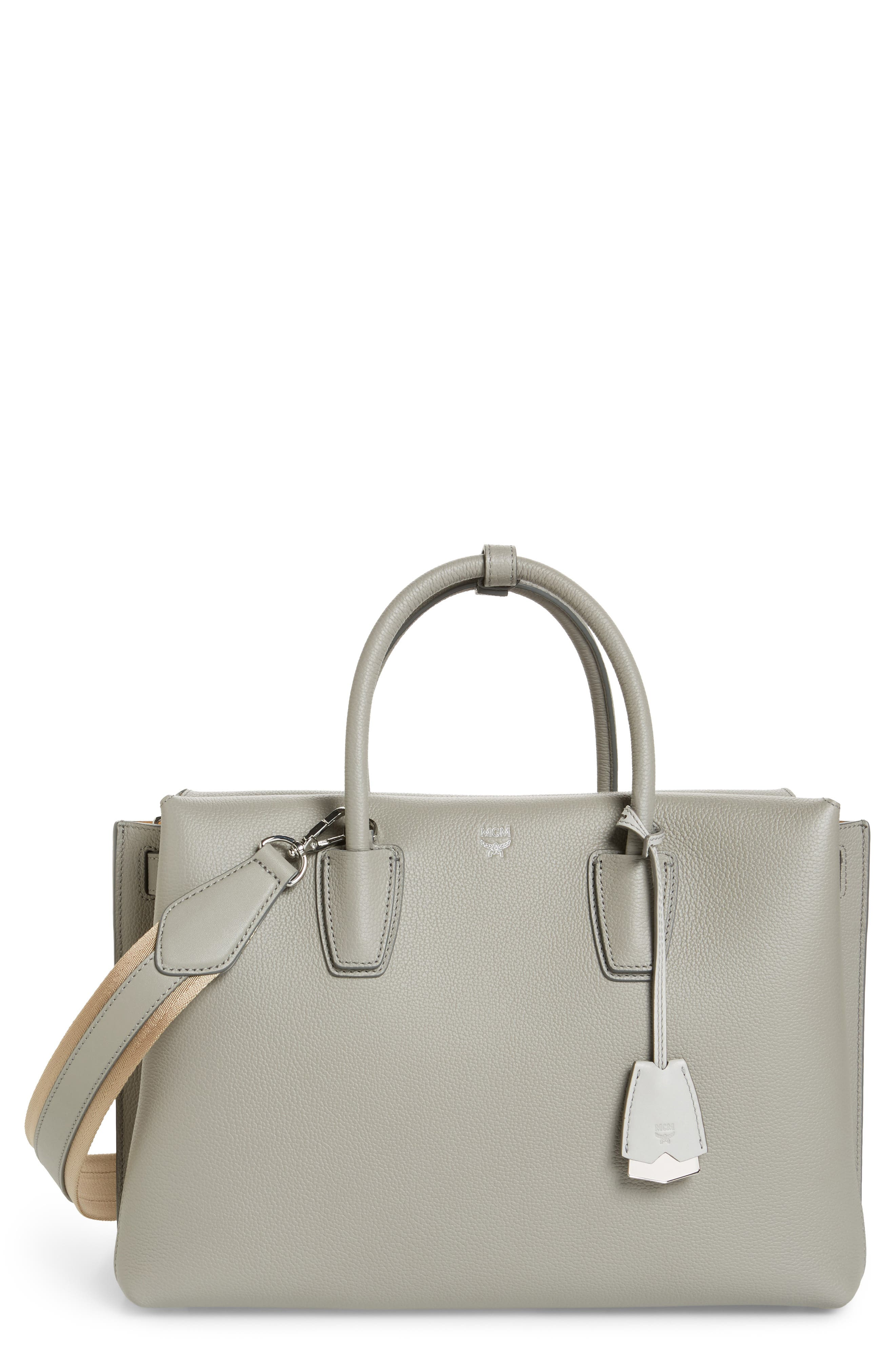 Large Milla Leather Tote,                         Main,                         color, Arch Grey