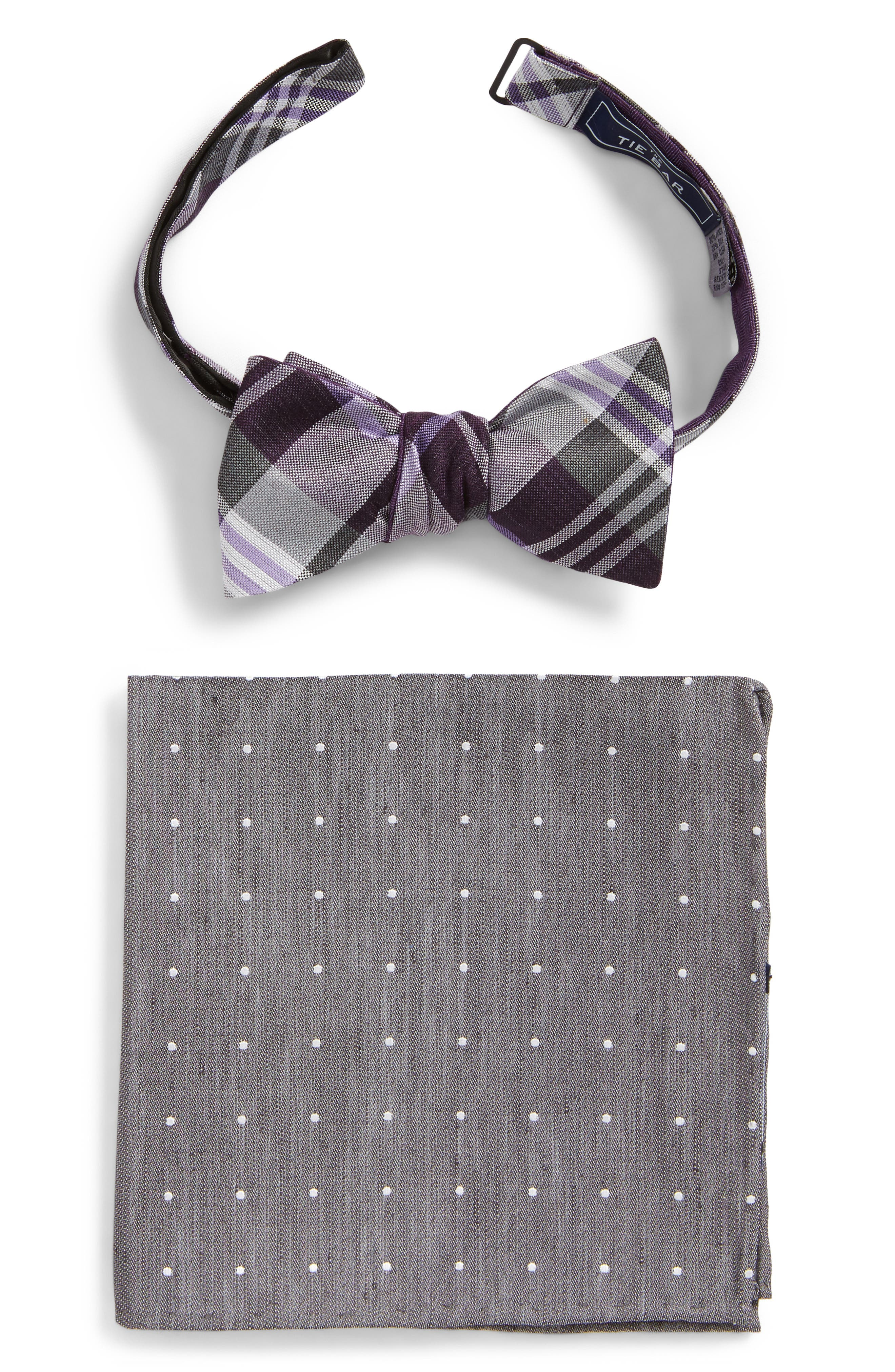 Crystal Wave Bow Tie & Pocket Square Box Set,                         Main,                         color, Eggplant