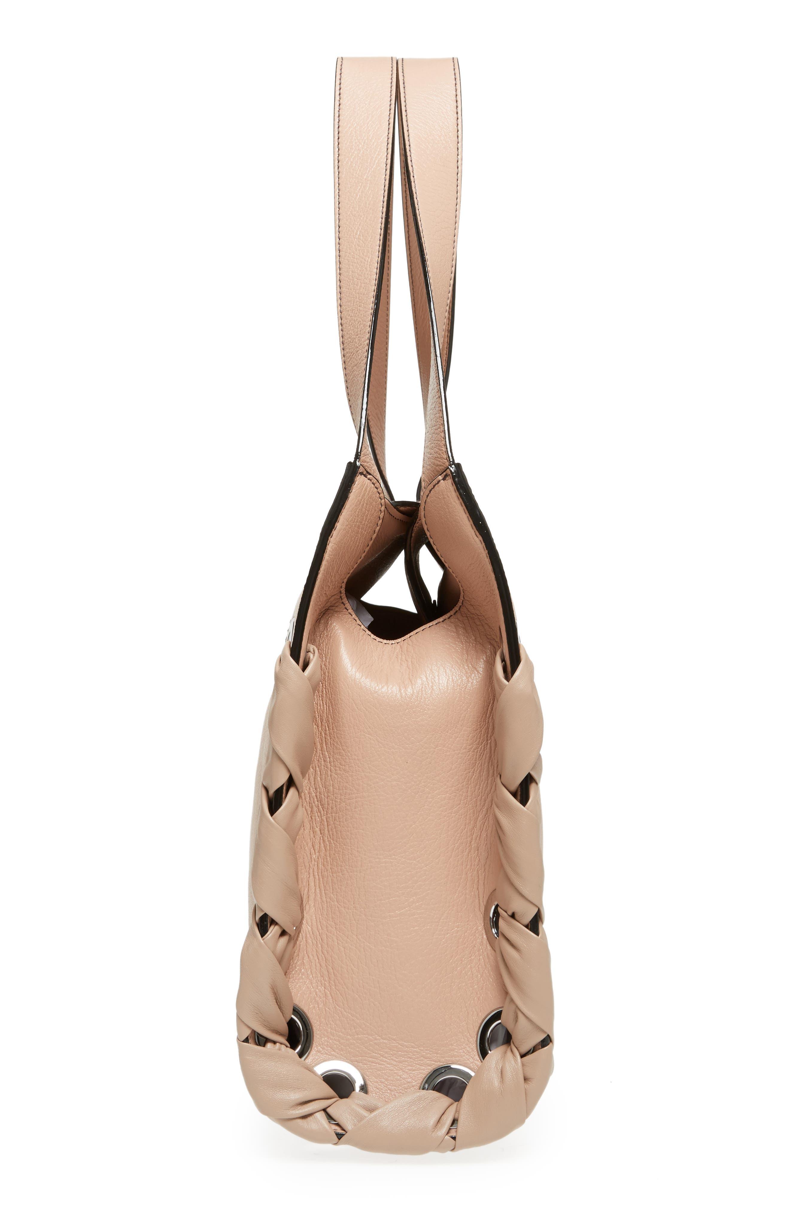 Rebel Leather Shoulder Bag,                             Alternate thumbnail 5, color,                             Ballet Pink