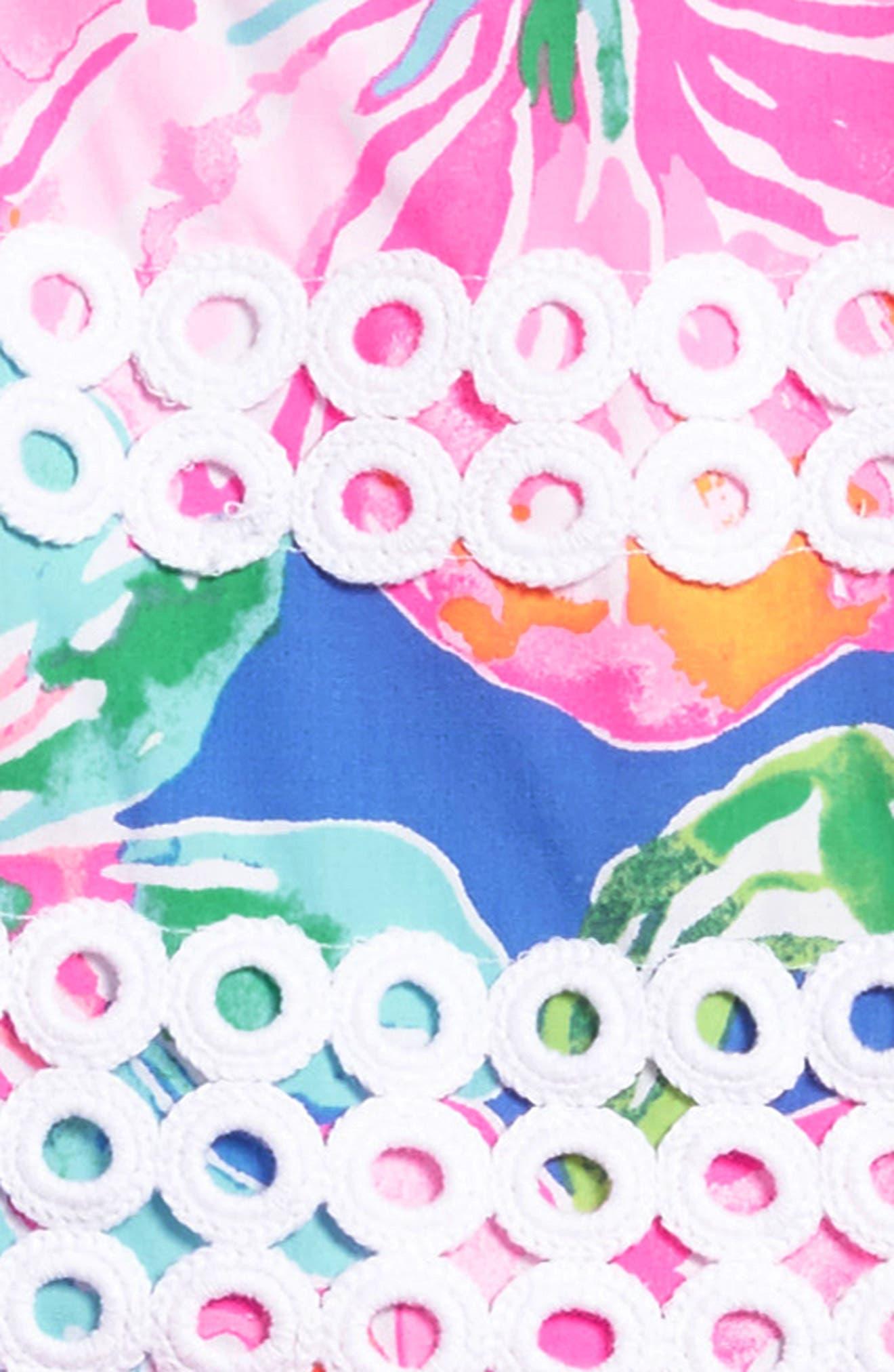 Elize Lace Trim Sundress,                             Alternate thumbnail 3, color,                             Beckon Blue Jungle Utopia