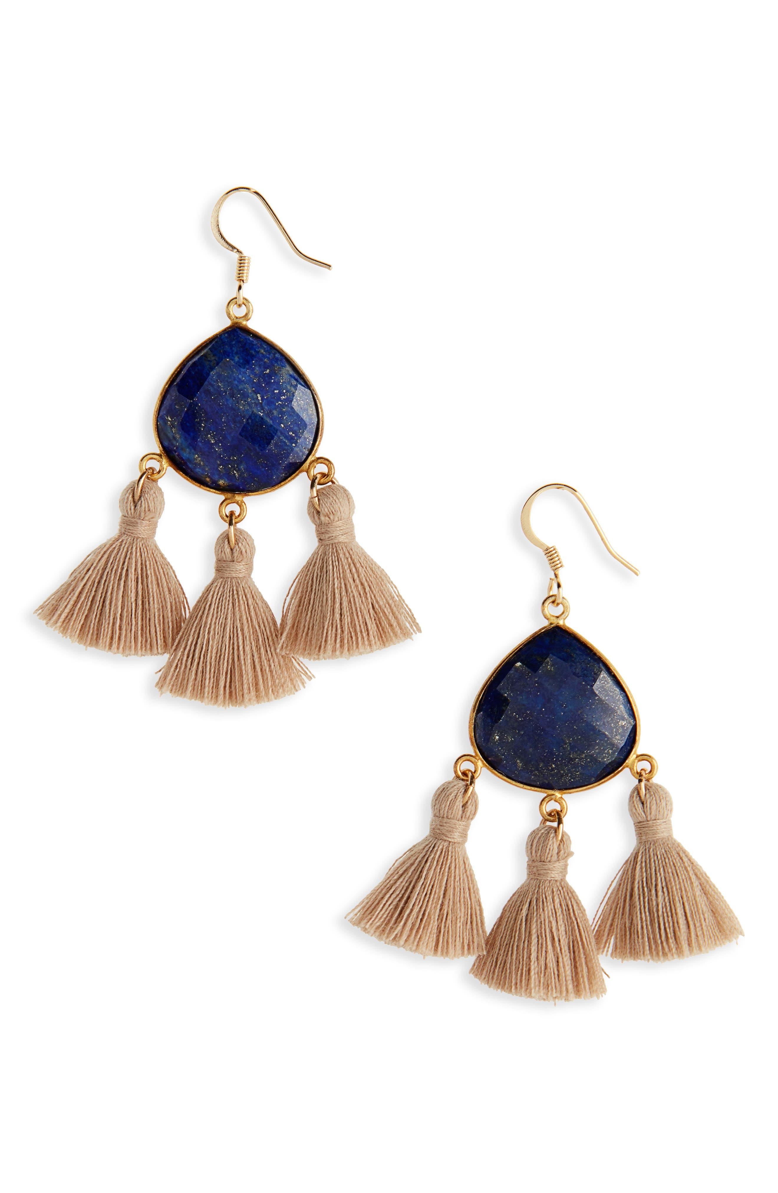 Main Image - Love's Affect Lacey Semiprecious Tassel Drop Earrings