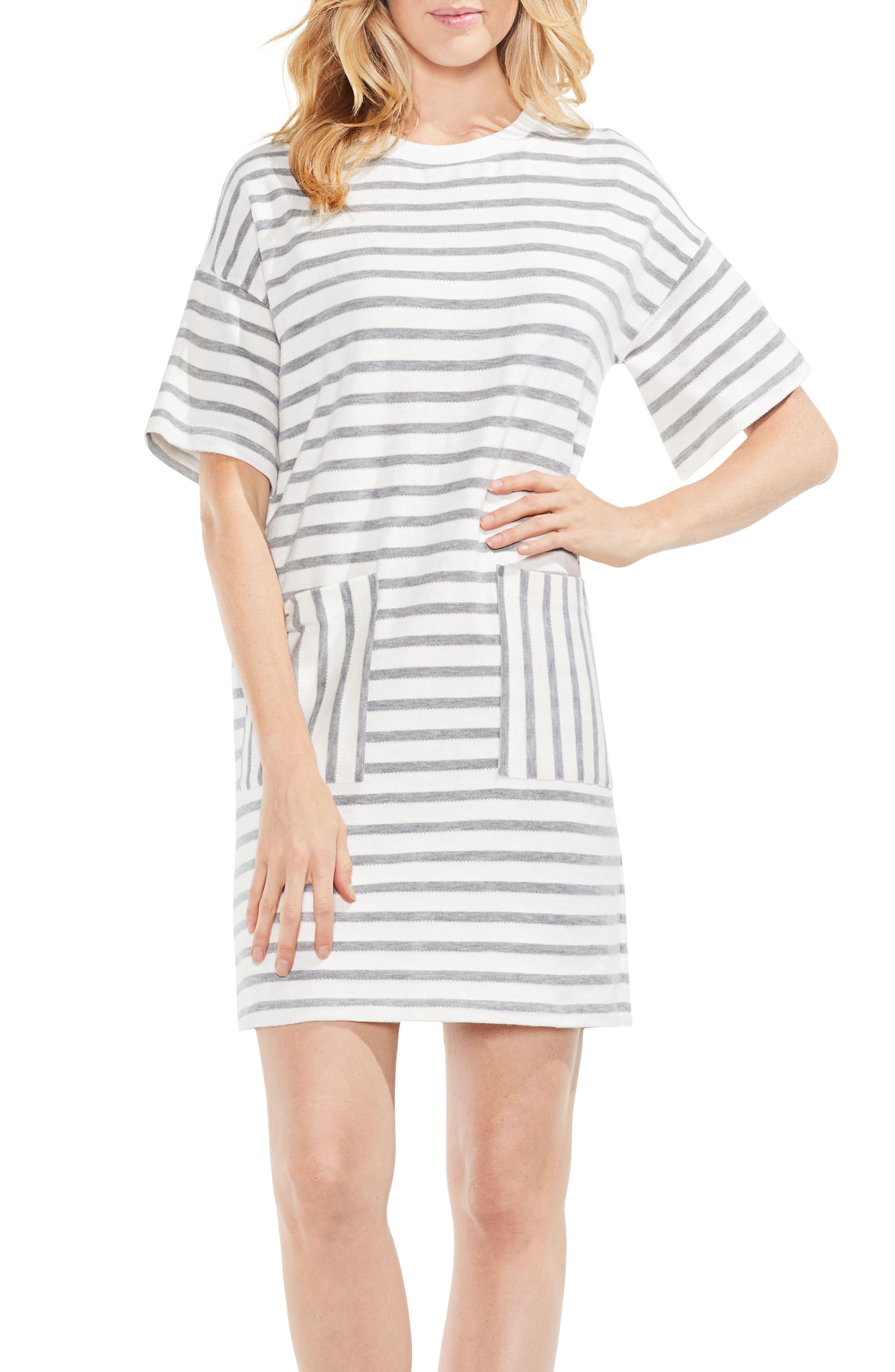 Drop Shoulder Stripe Shift Dress,                             Alternate thumbnail 3, color,                             Grey Heather