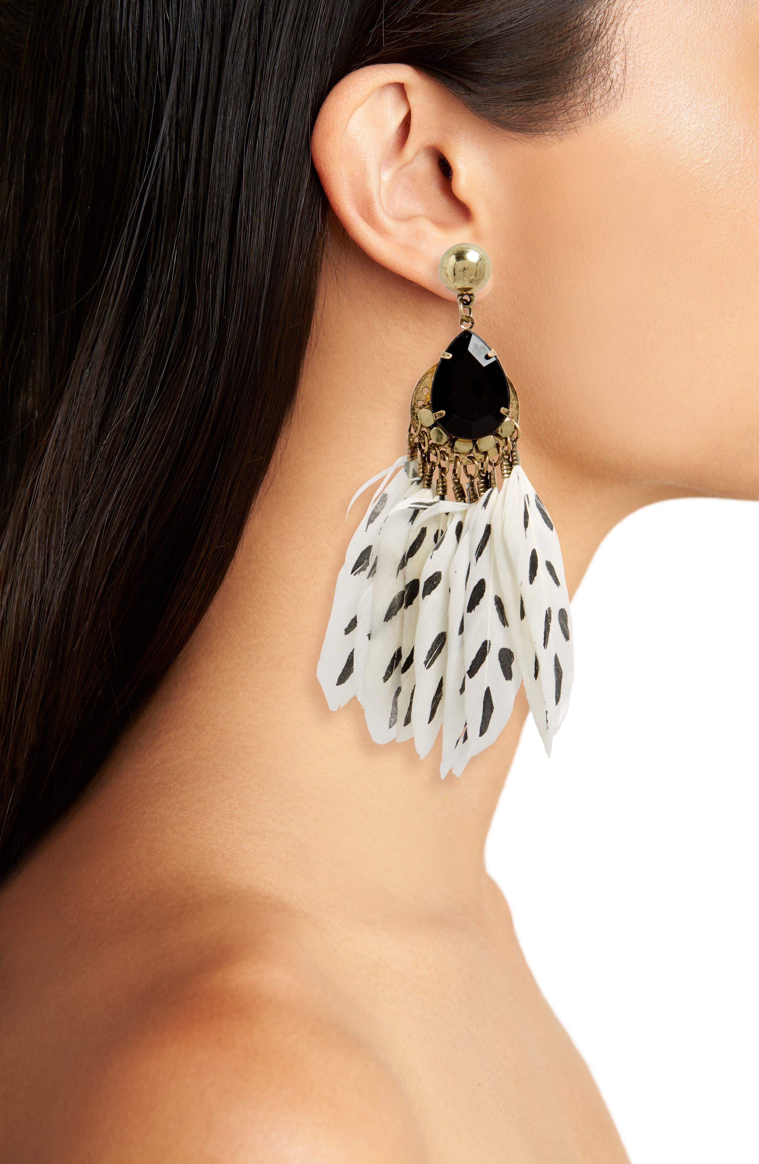 Print Feather Drop Earrings,                             Alternate thumbnail 2, color,                             White/ Black/ Gold