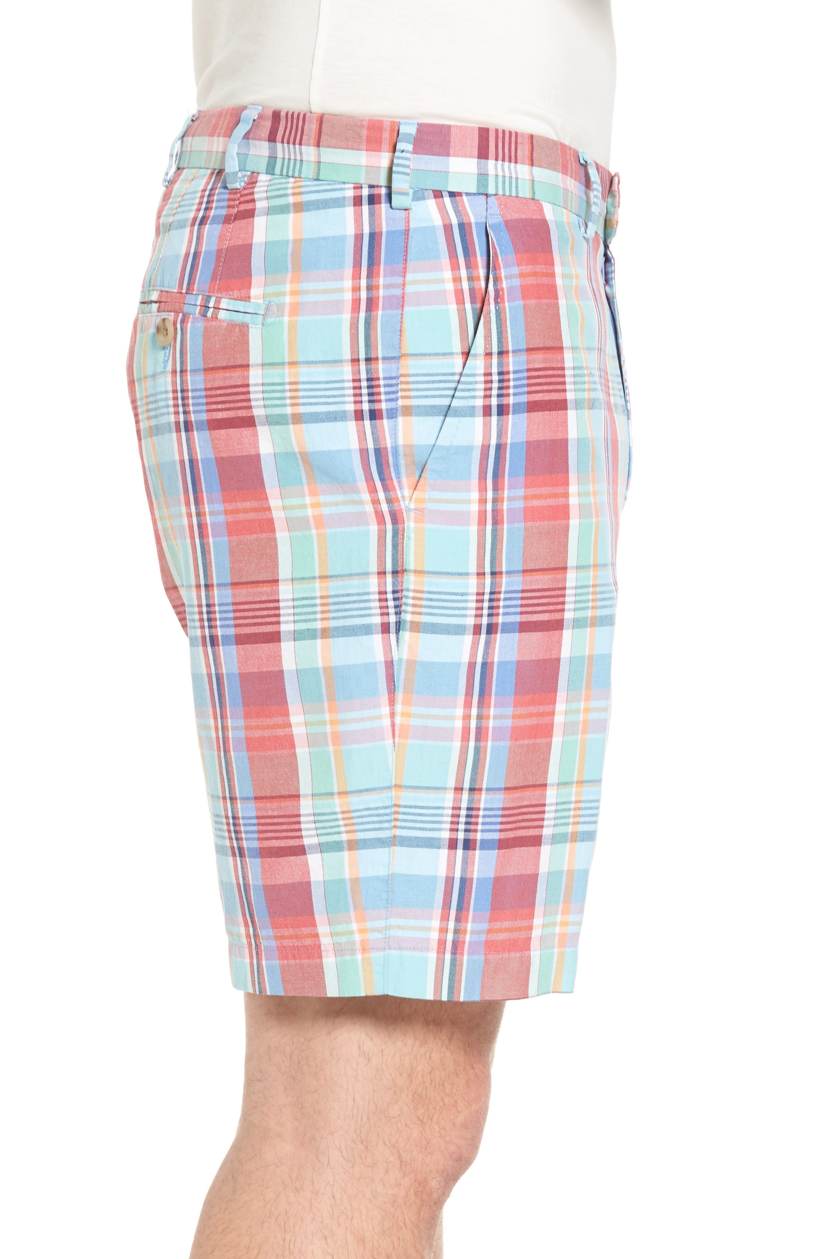Seaside Madras Plaid Shorts,                             Alternate thumbnail 3, color,                             Cape Red