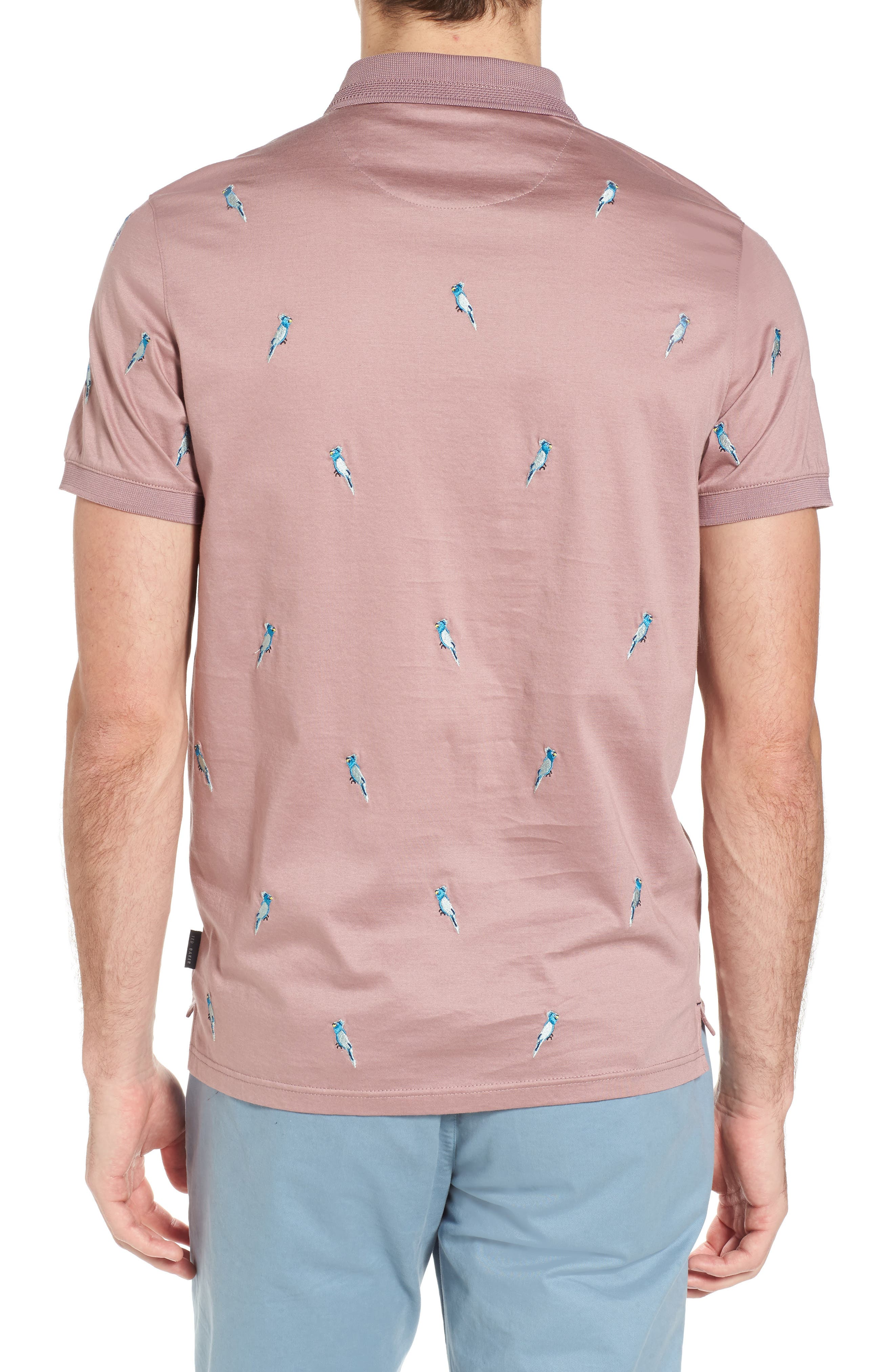 Scraffy Trim Fit Cockatoo Embroidered Polo,                             Alternate thumbnail 2, color,                             Dusky Pink
