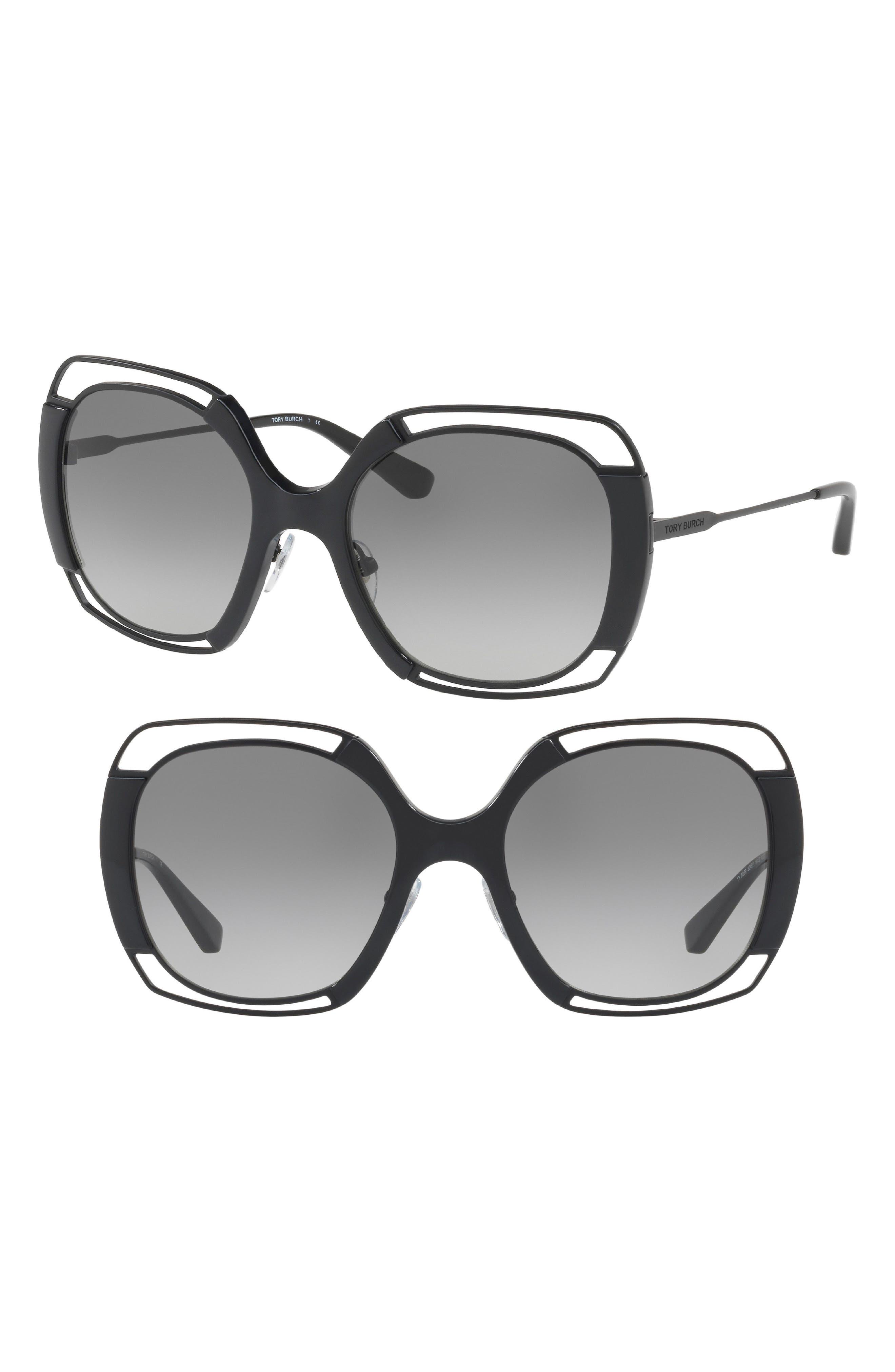 Main Image - Tory Burch 54mm Square Gradient Sunglasses