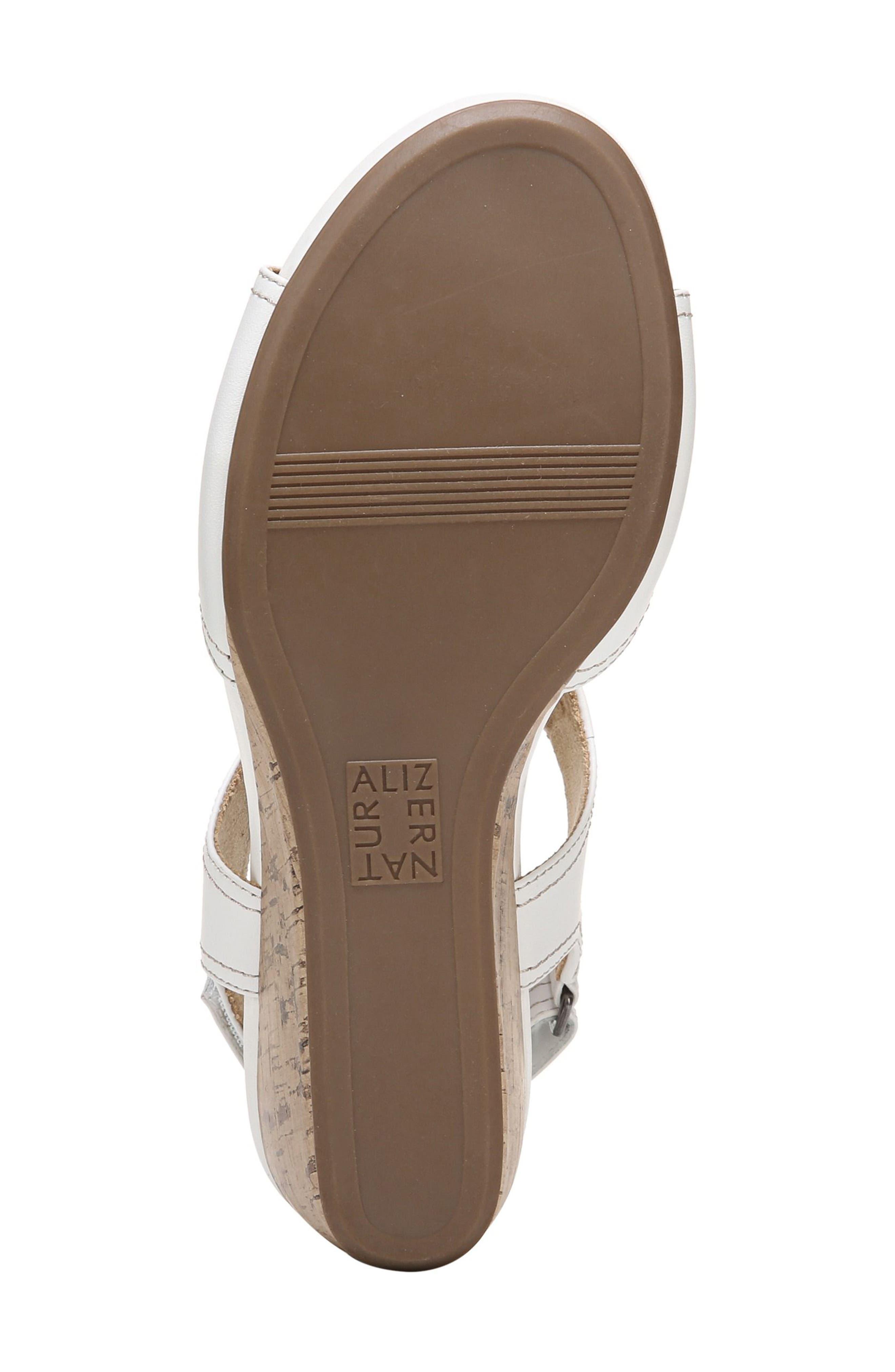 Cinda Wedge Sandal,                             Alternate thumbnail 6, color,                             White Leather
