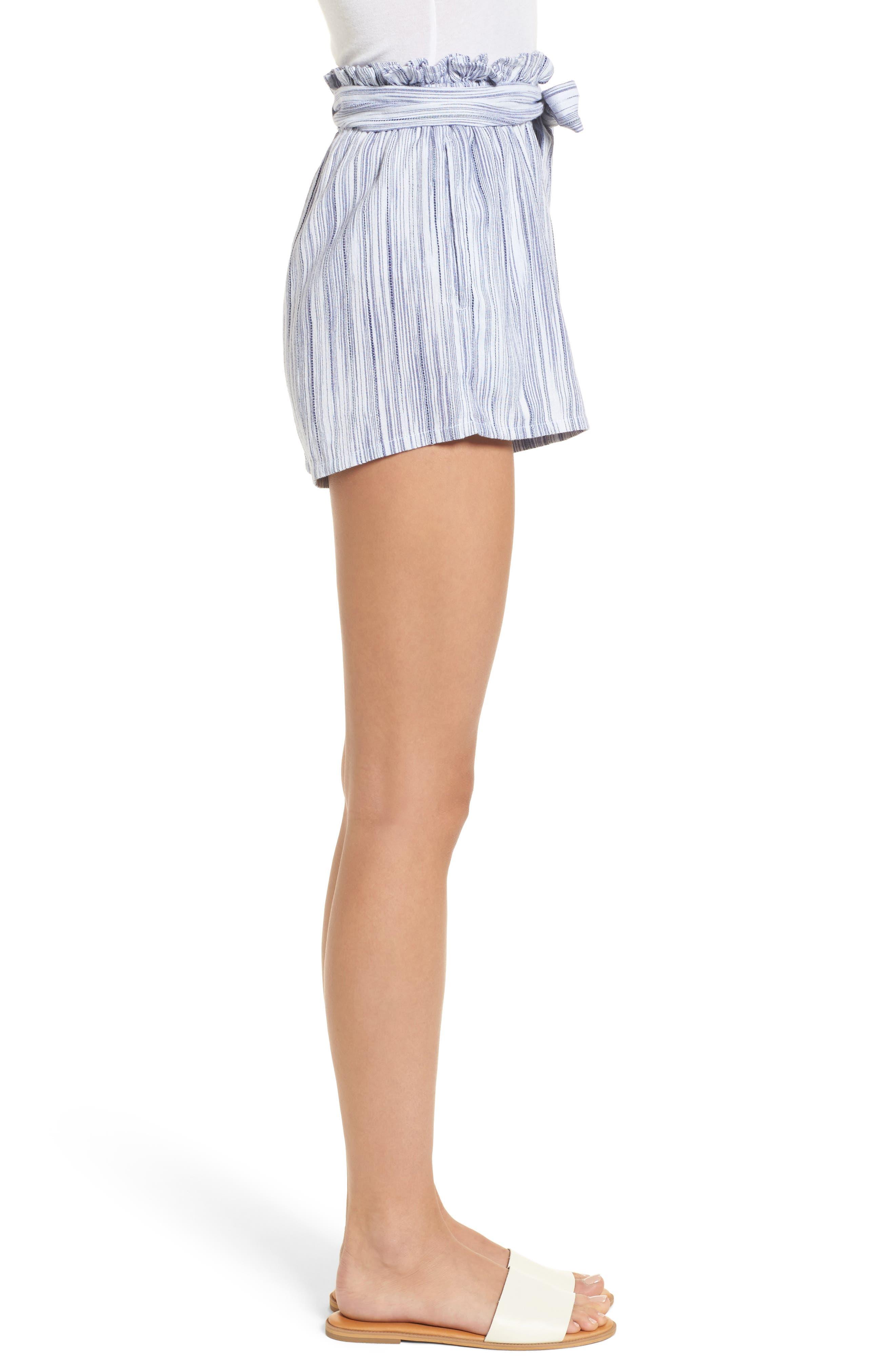 Stripe Paperbag Waist Shorts,                             Alternate thumbnail 4, color,                             Riviera Blue