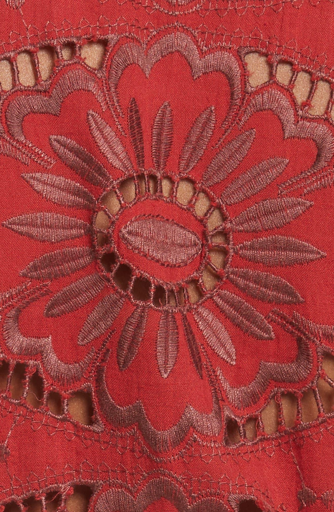 Ruffle Cotton Eyelet Dress,                             Alternate thumbnail 5, color,                             Brick/ Dark Brick