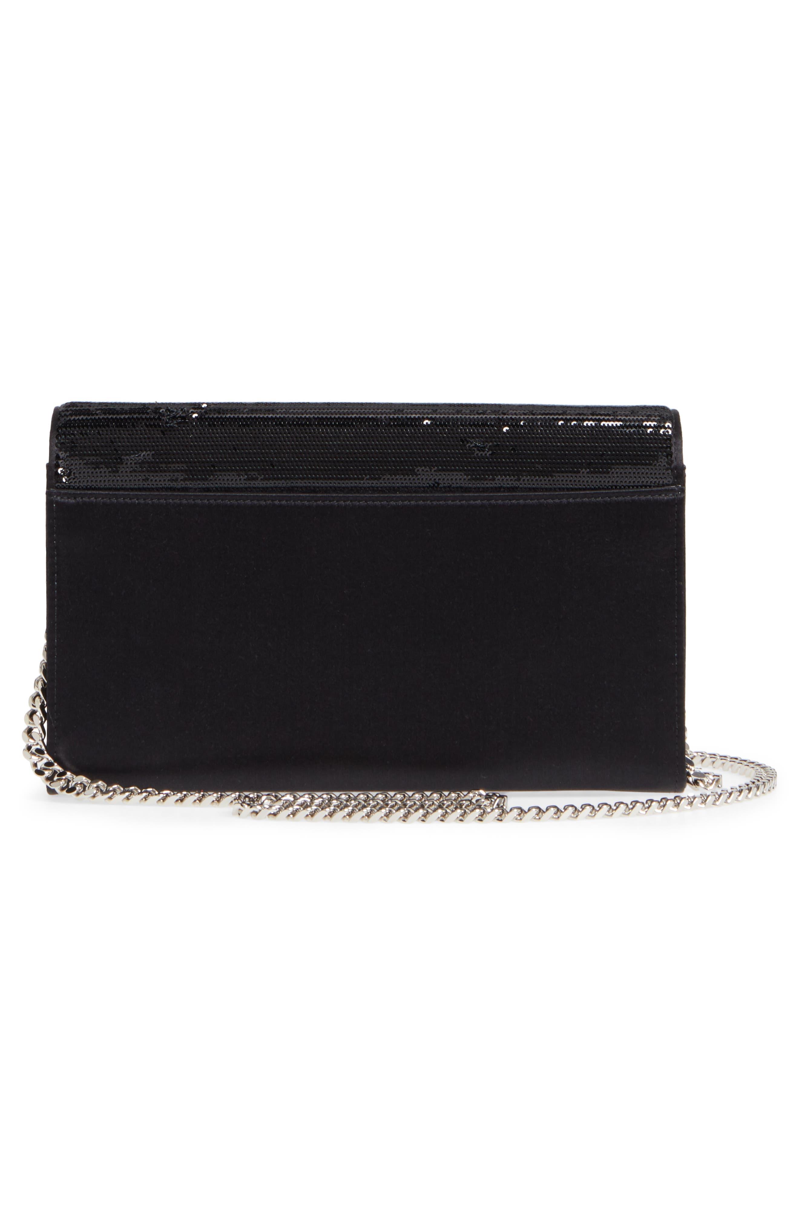 Monogram Flip Sequin Wallet on a Chain,                             Alternate thumbnail 3, color,                             Noir/ Metallic