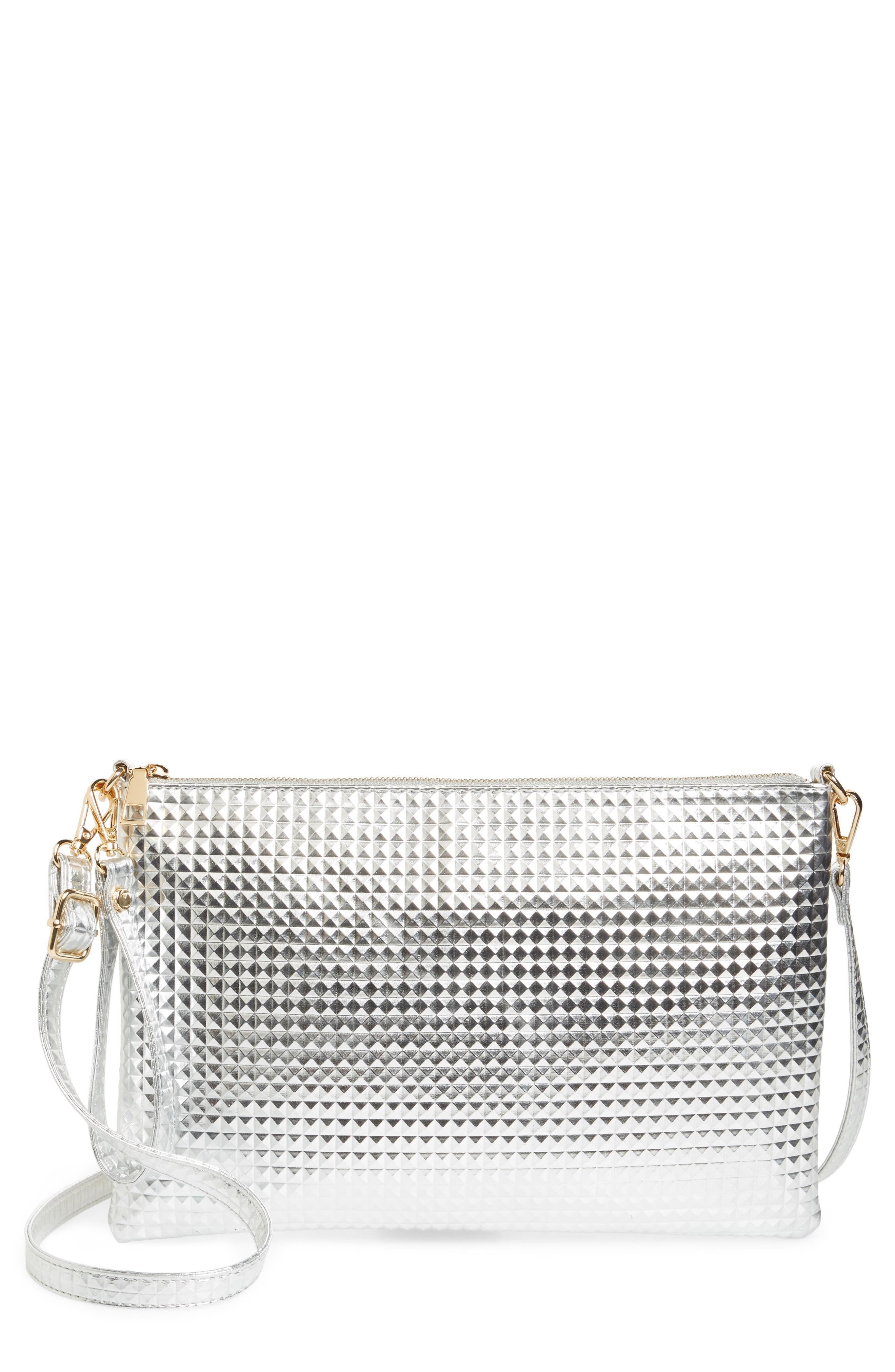 Large Textured Metallic Faux Leather Pouch,                             Main thumbnail 1, color,                             Silver
