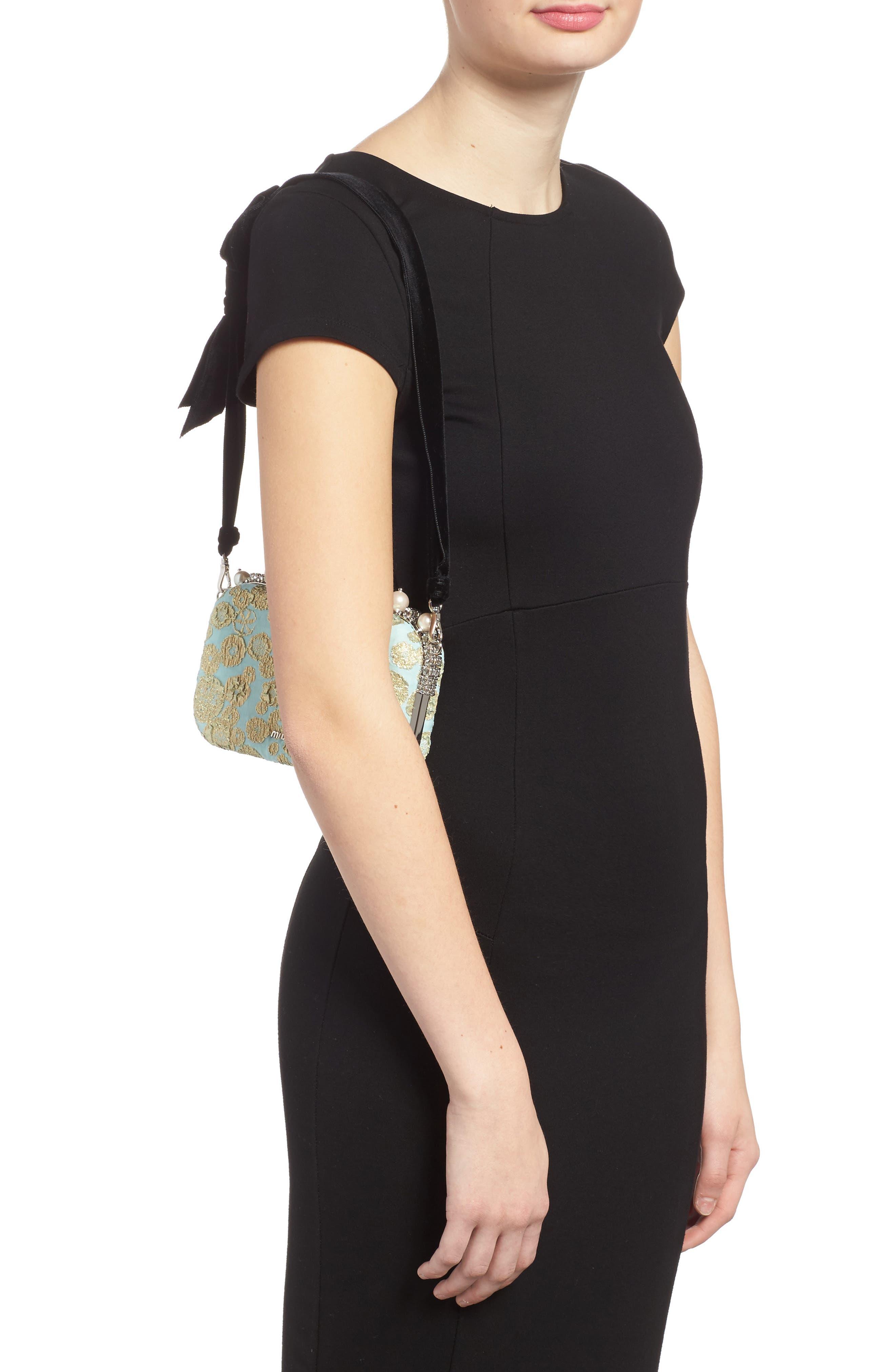 Imitation Pearl & Metallic Brocade Shoulder Bag,                             Alternate thumbnail 2, color,                             Clorofilla