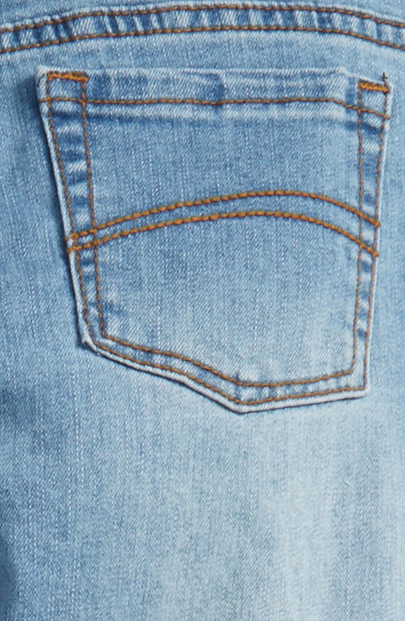 Distressed Skinny Jeans,                             Alternate thumbnail 3, color,                             Light Blue Denim