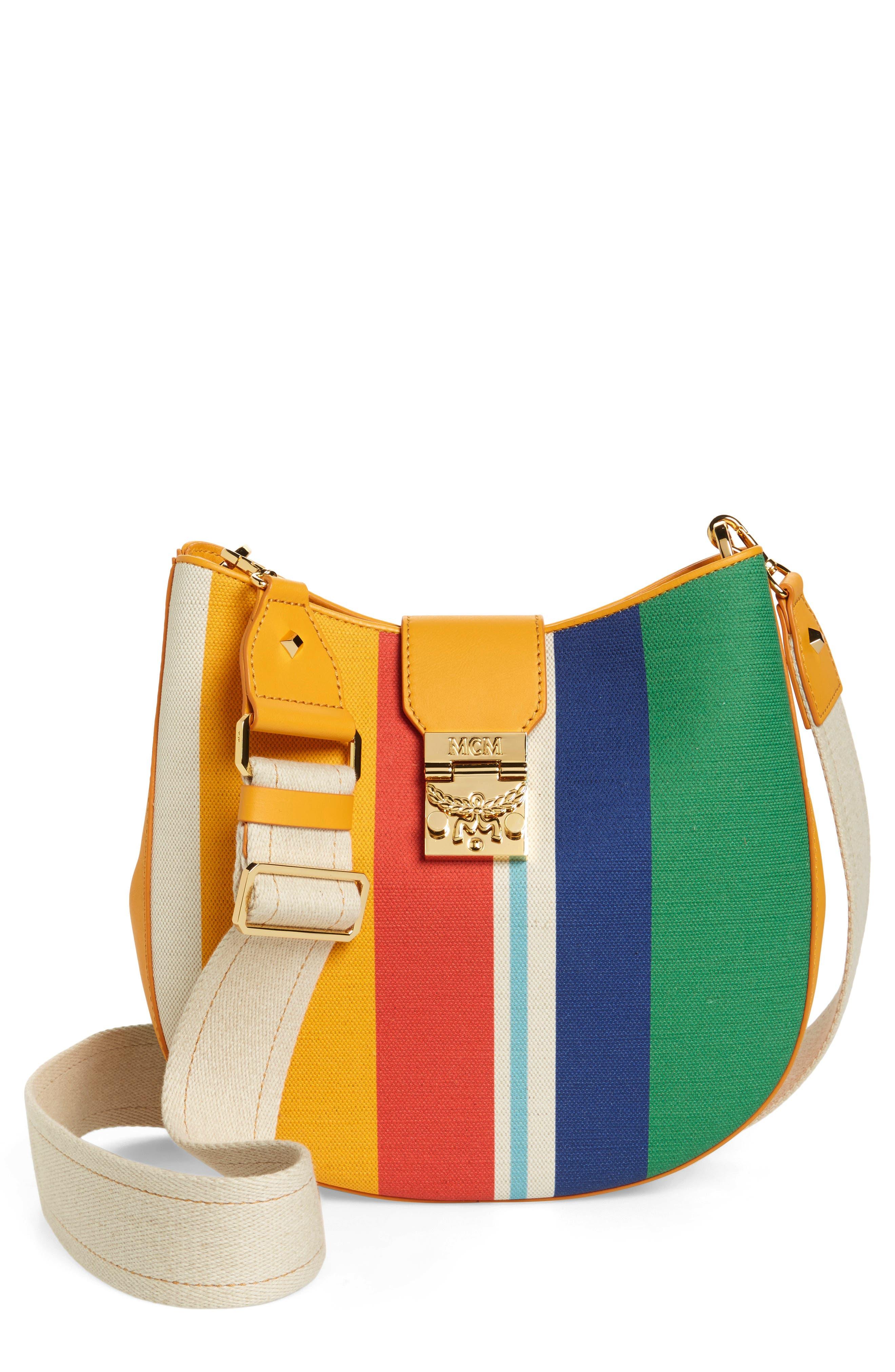 Medium Patricia Canvas Hobo Bag,                             Main thumbnail 1, color,                             Rainbow Yellow