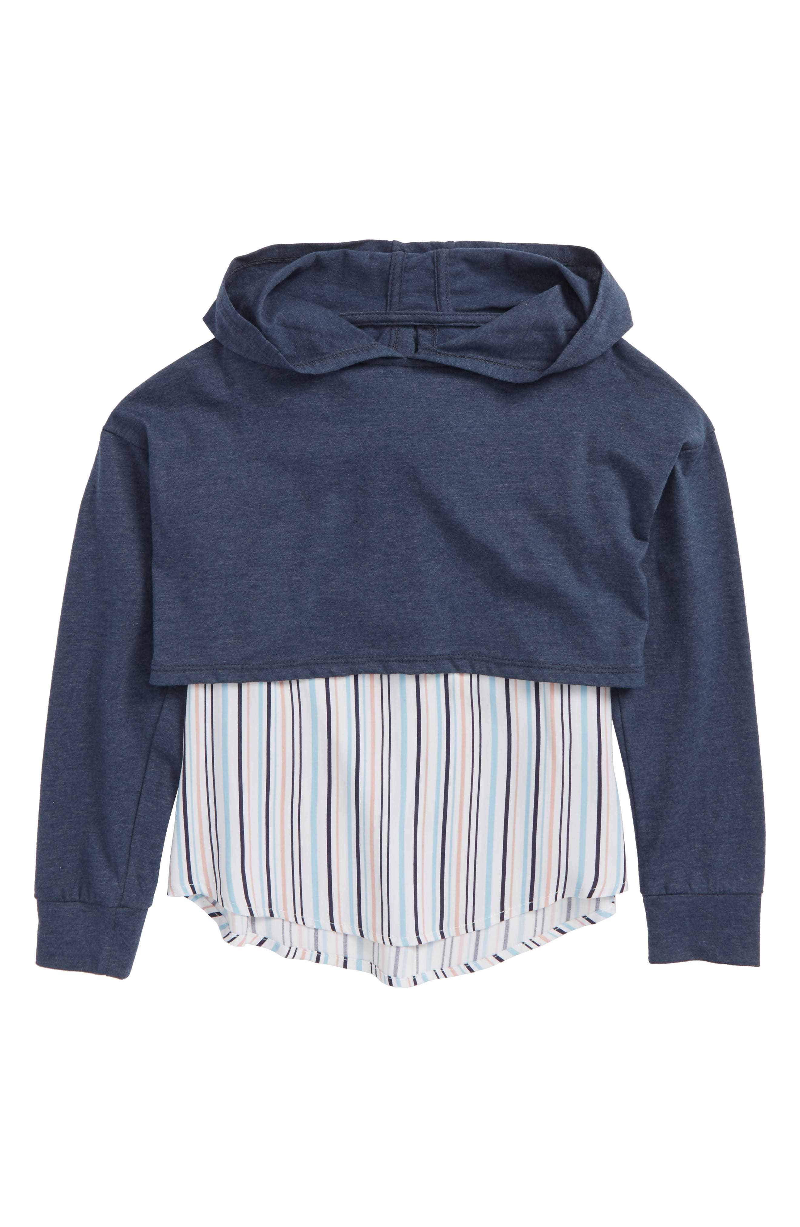 Mixed Media Hooded Top,                         Main,                         color, Blue/ Multi