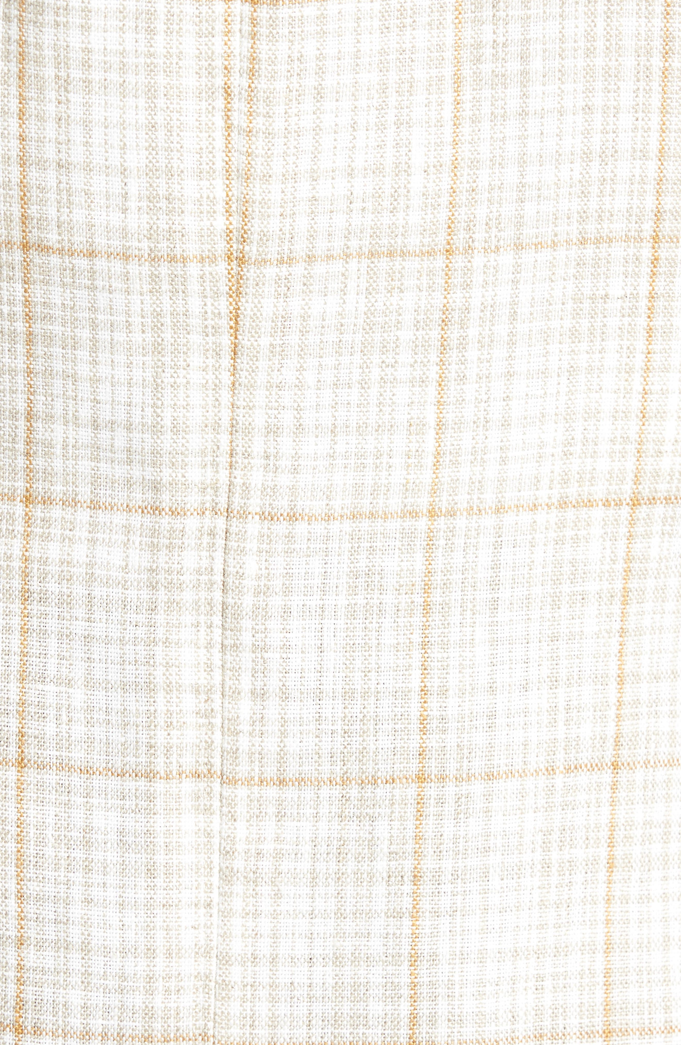 Trent Trim Fit Plaid Linen Sport Coat,                             Alternate thumbnail 5, color,                             Light Cream