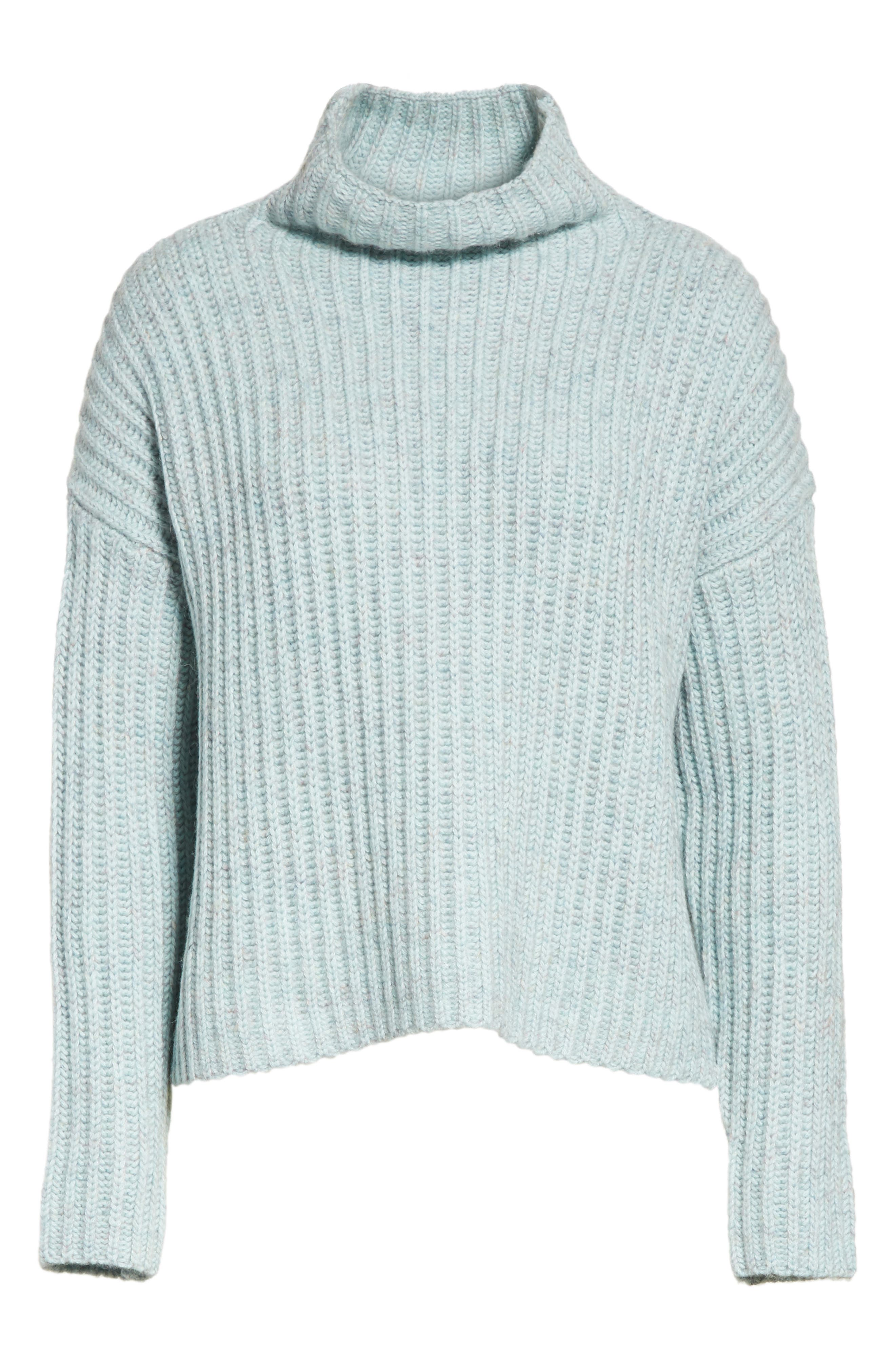 Ribbed Turtleneck Sweater,                             Alternate thumbnail 6, color,                             Tourmaline Heather