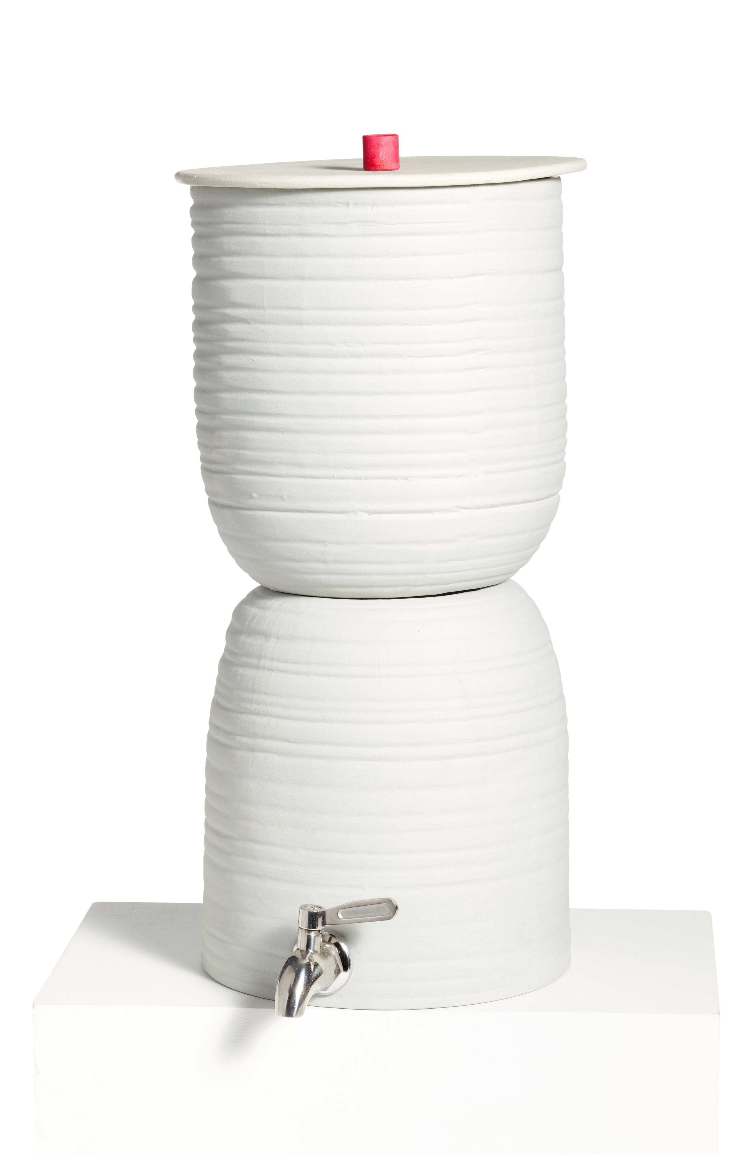 Wavy Porcelain Water Filter,                             Main thumbnail 1, color,                             White