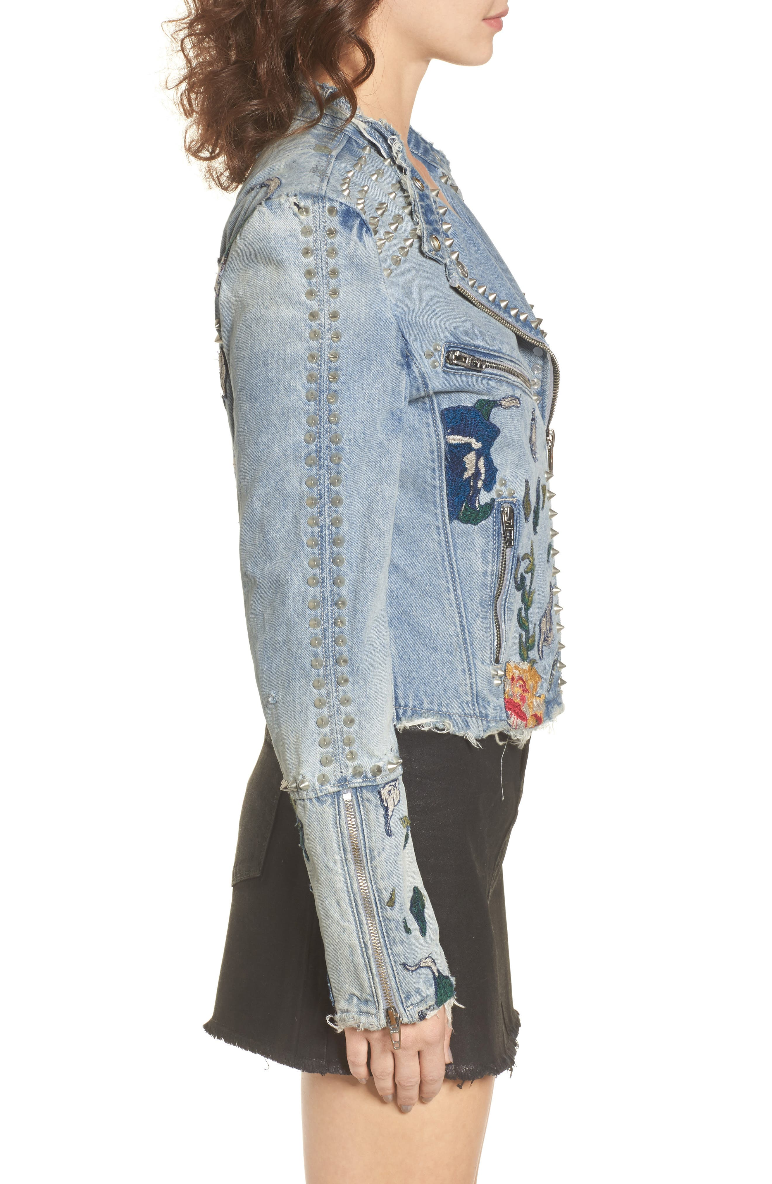Alternate Image 3  - BLANKNYC Sea of Flowers Studded Denim Moto Jacket