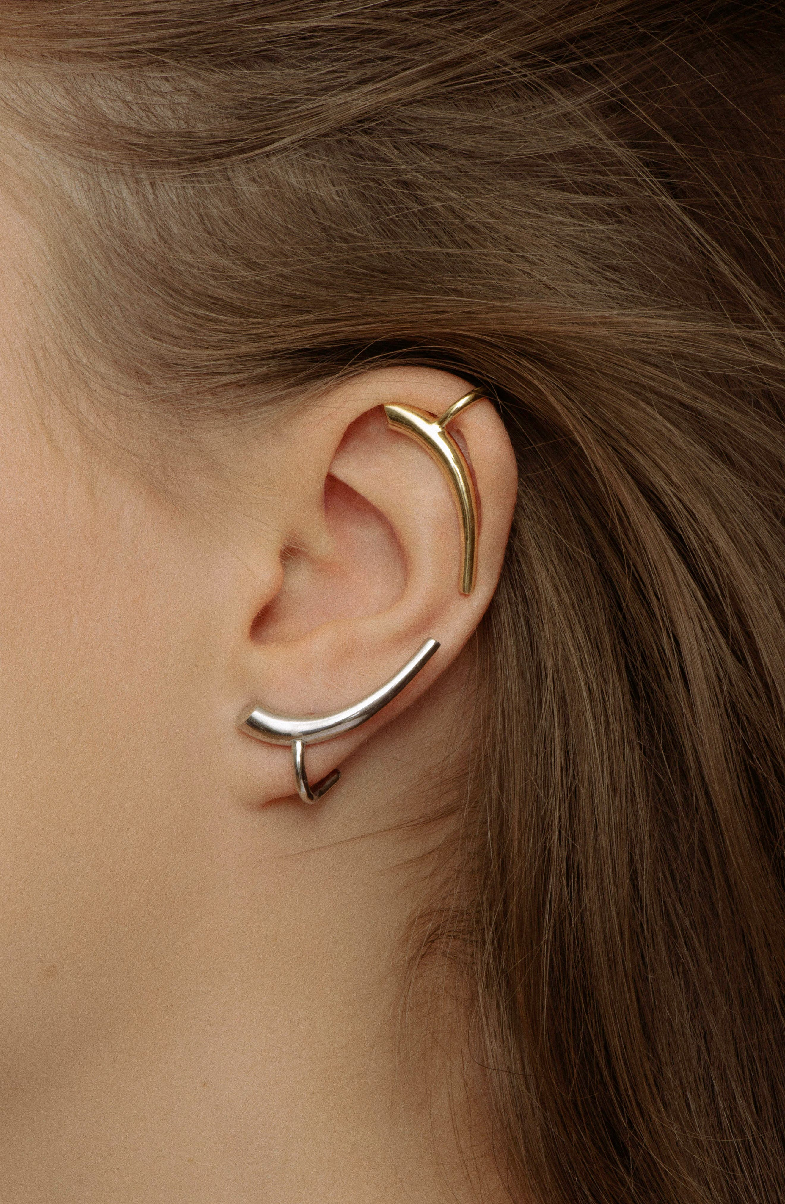 Helix Silver Ear Cuffs,                             Alternate thumbnail 2, color,                             Silver